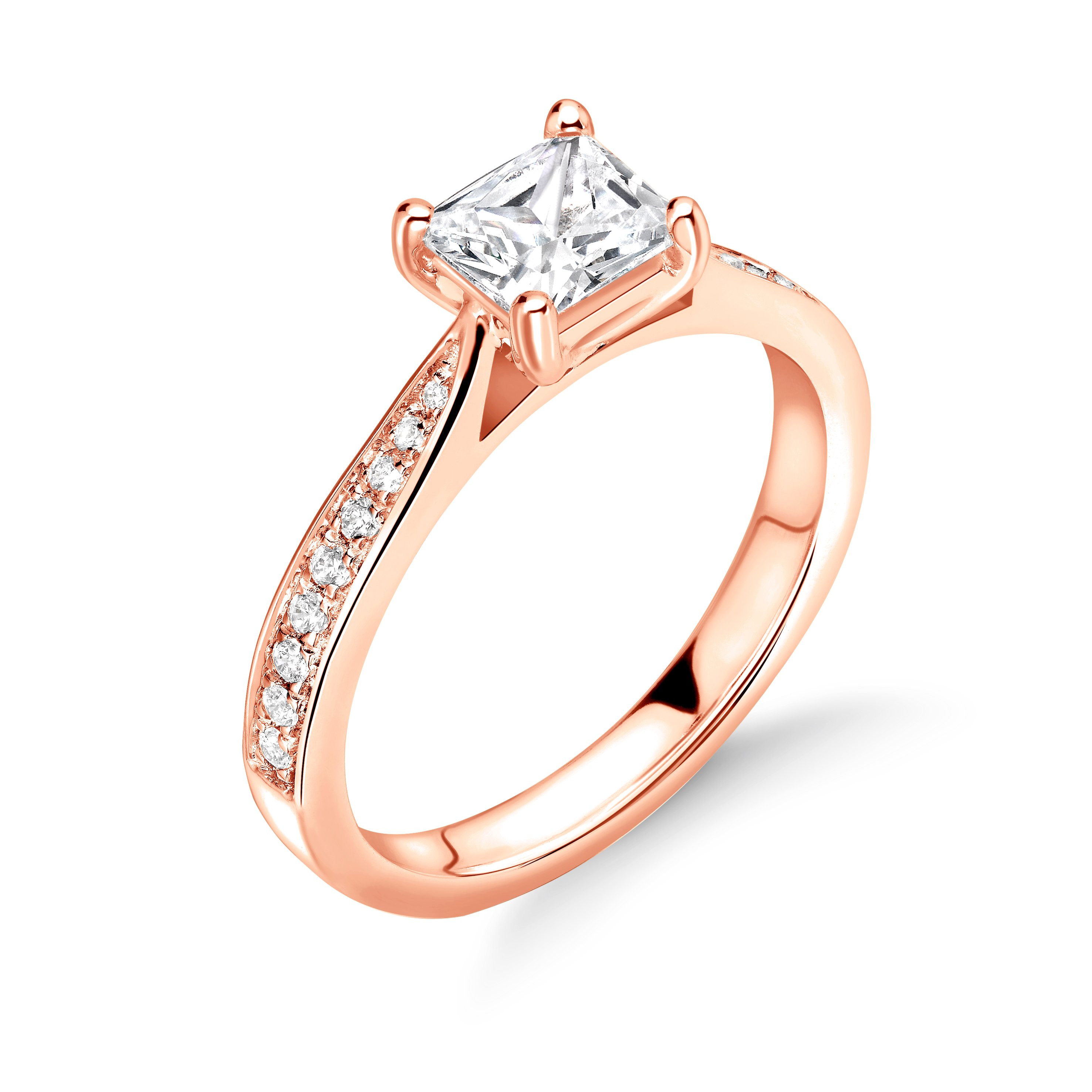 4 Prong Setting Princess Shape Tapering Delicate Shoulder Halo Diamond Engagement Rings