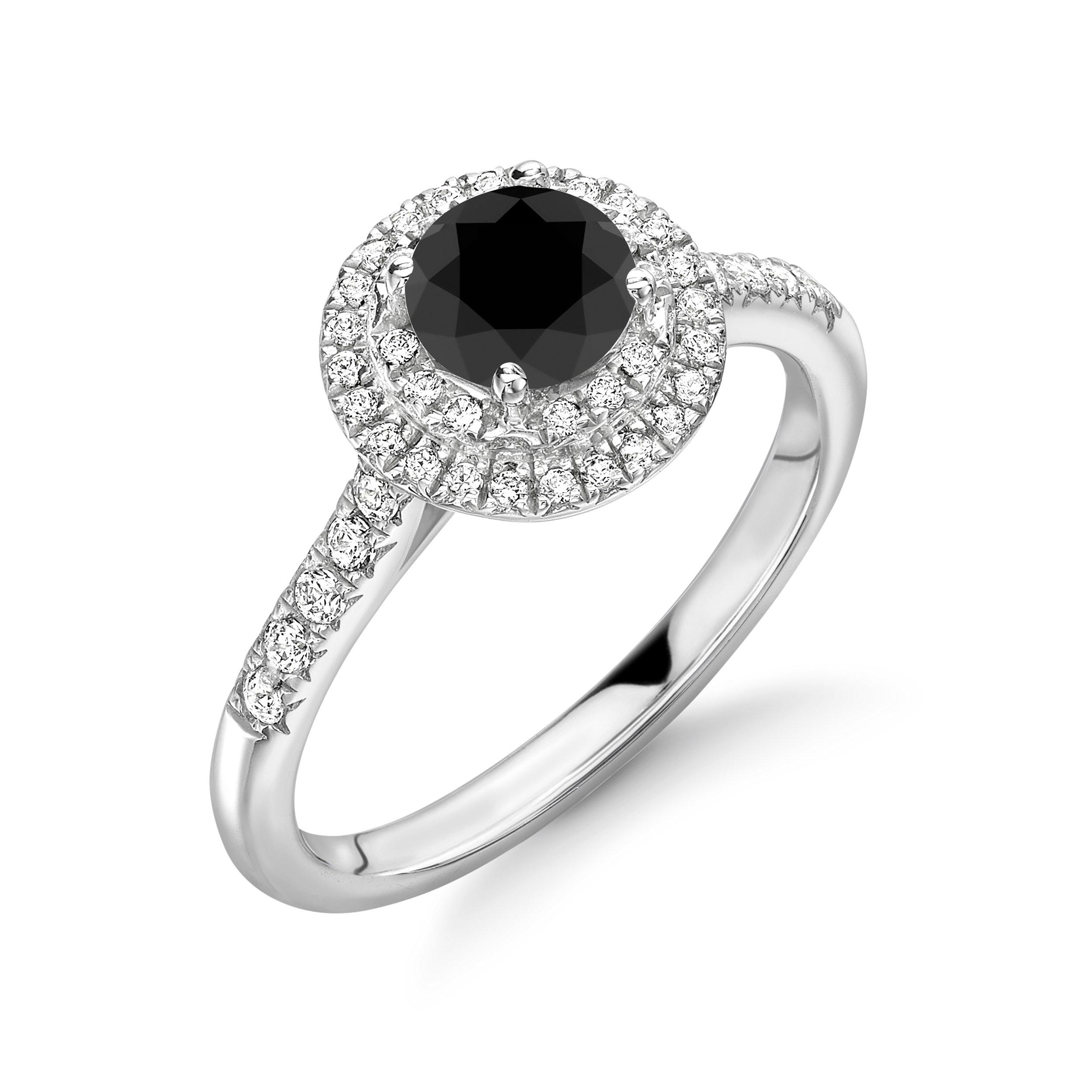 Double Rows Halo Black & White Diamond Engagement Rings