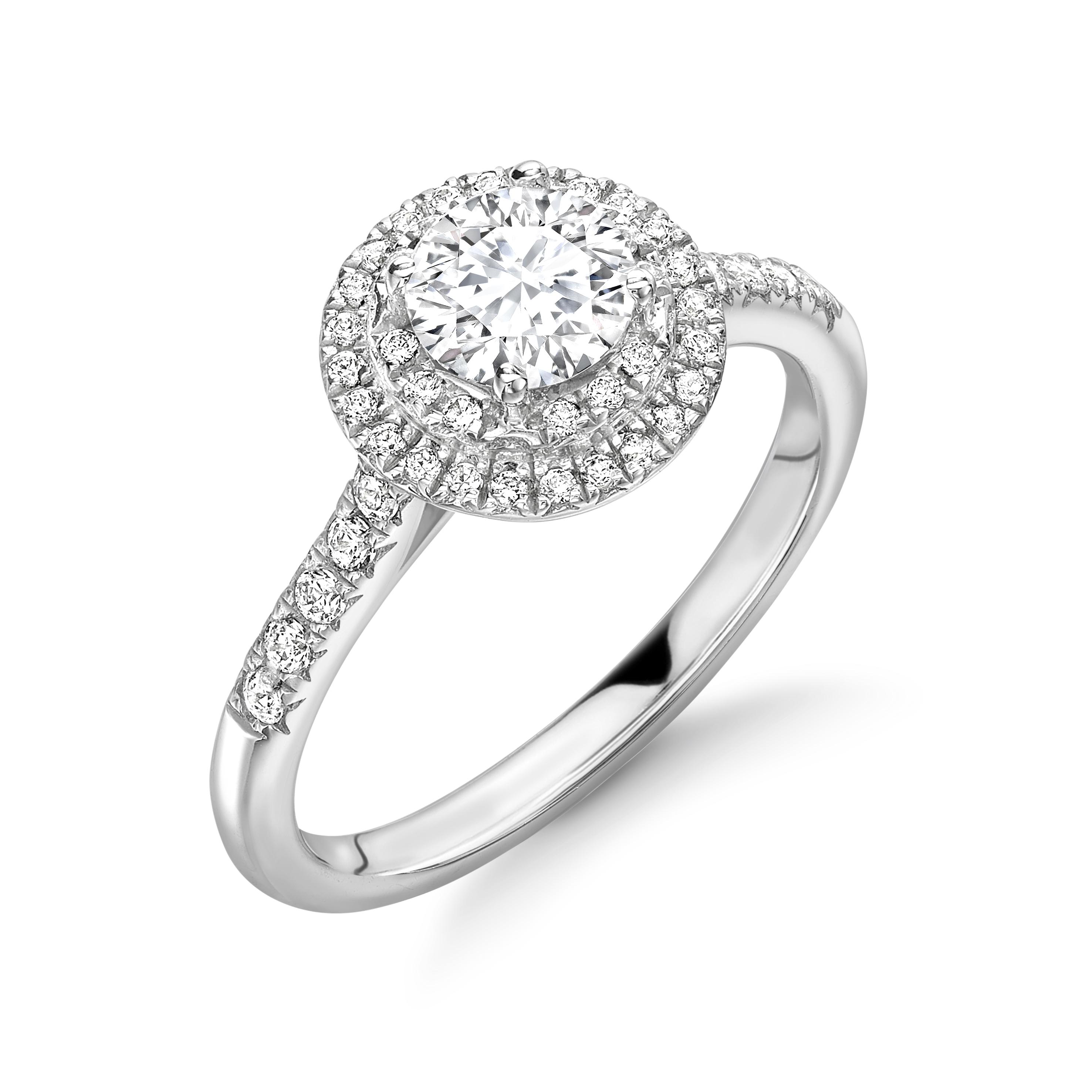 4 Prong Setting Round Shape 2 Raw Halo Diamond Engagement Rings