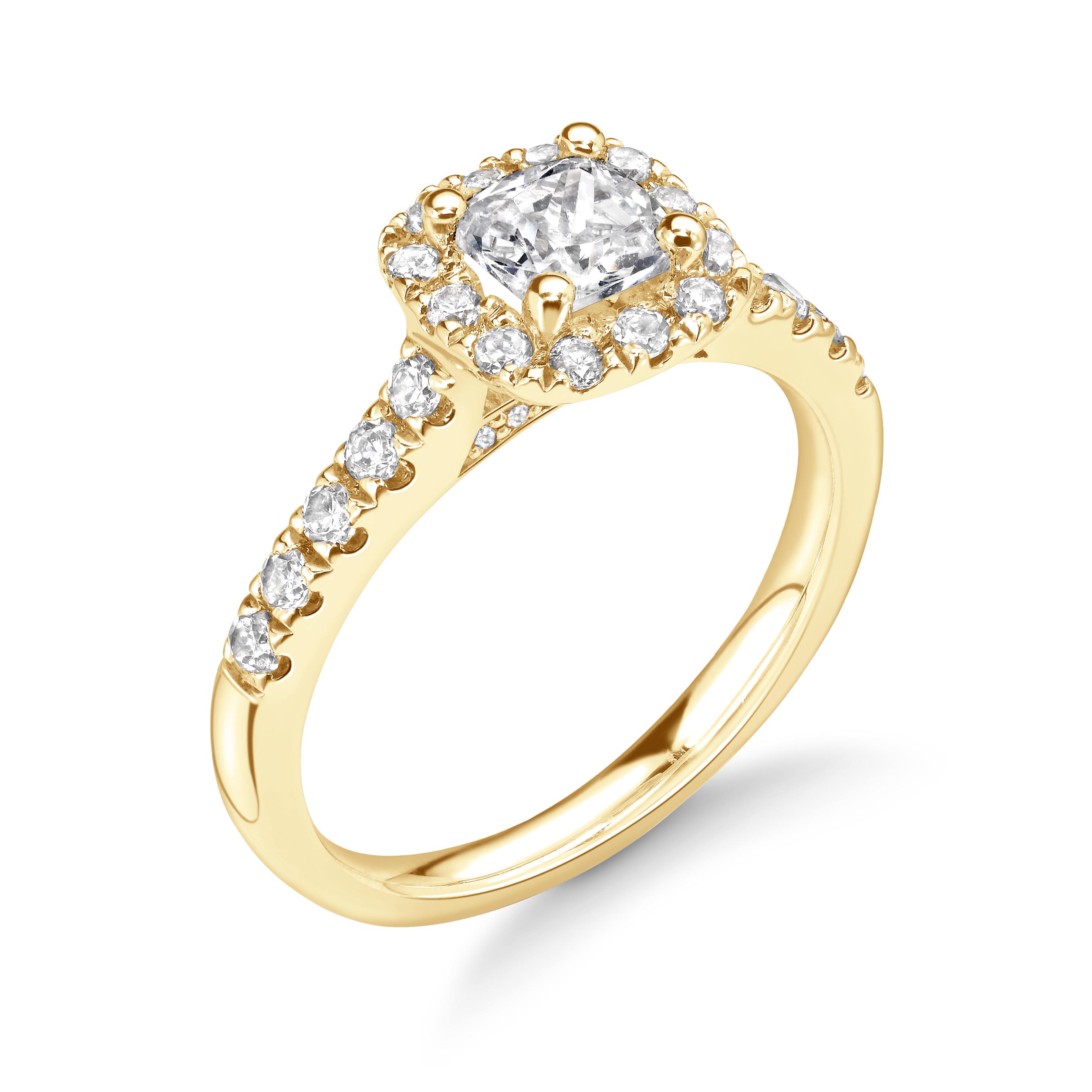 4 Prong Setting Asscher Shape Open Setting Halo Diamond Engagement Rings