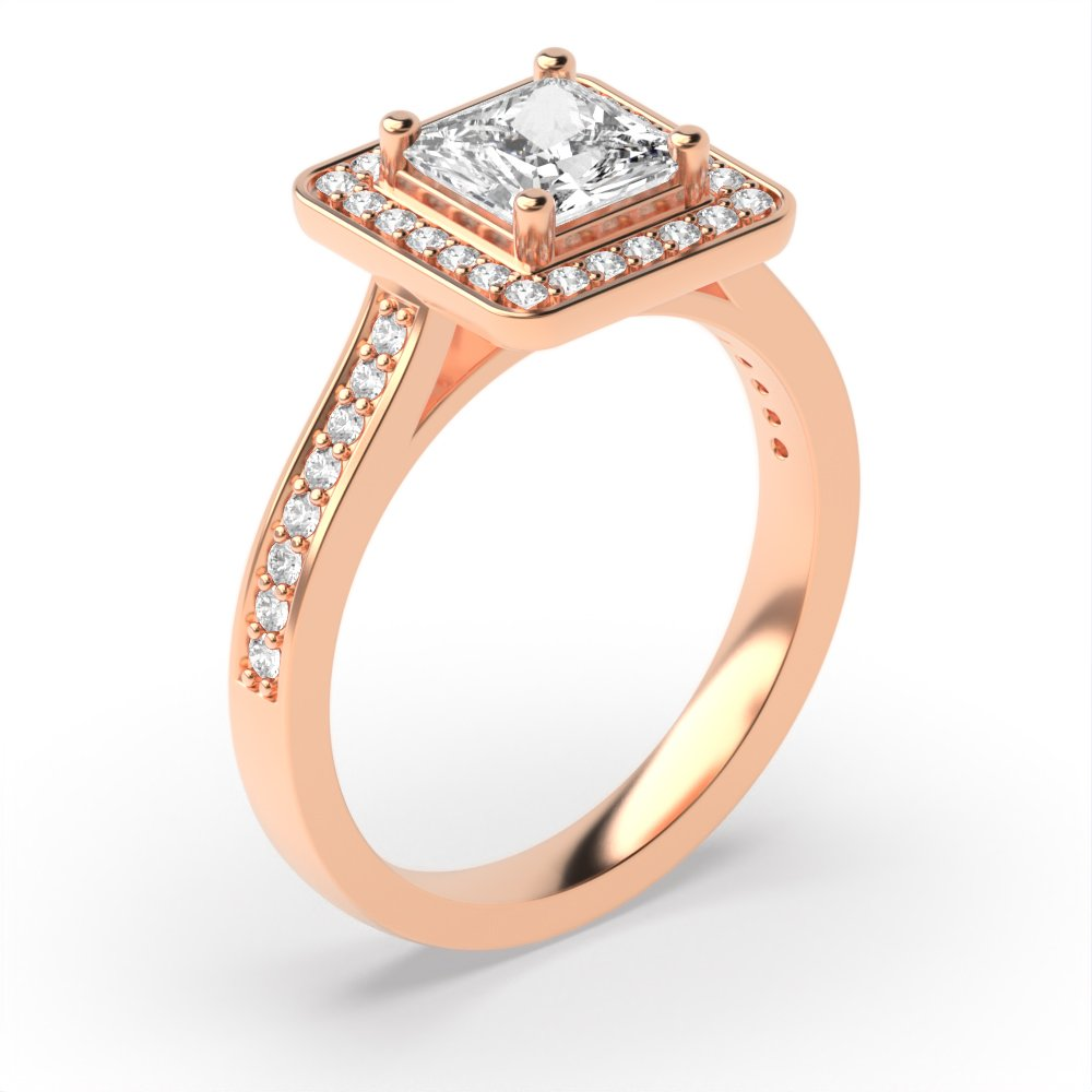 4 Prong Setting Princess Shape Classic - Best Seller Halo Diamond Engagement Rings