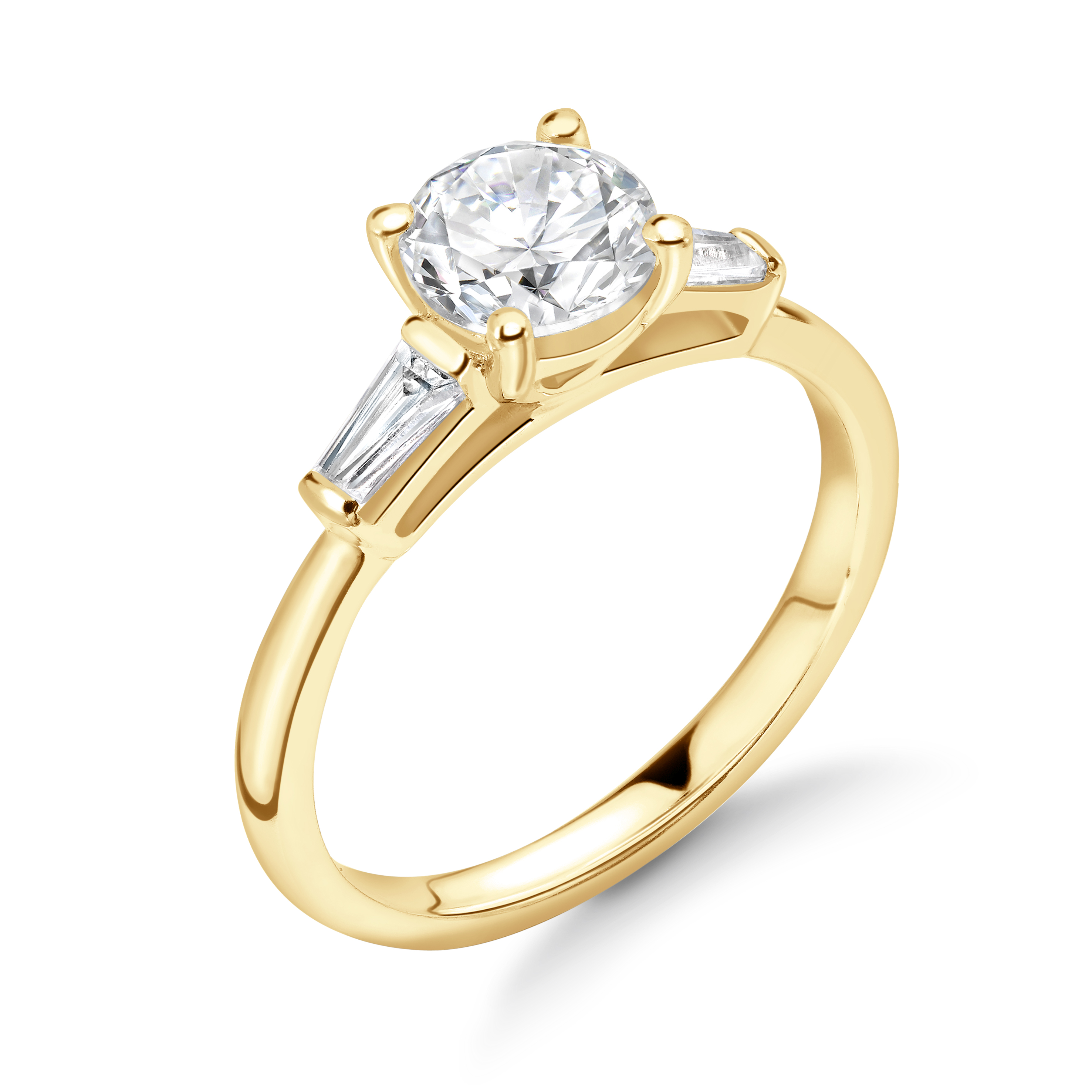 Round Shape And Tapered Baguette on Side Diamond Engagement Rings