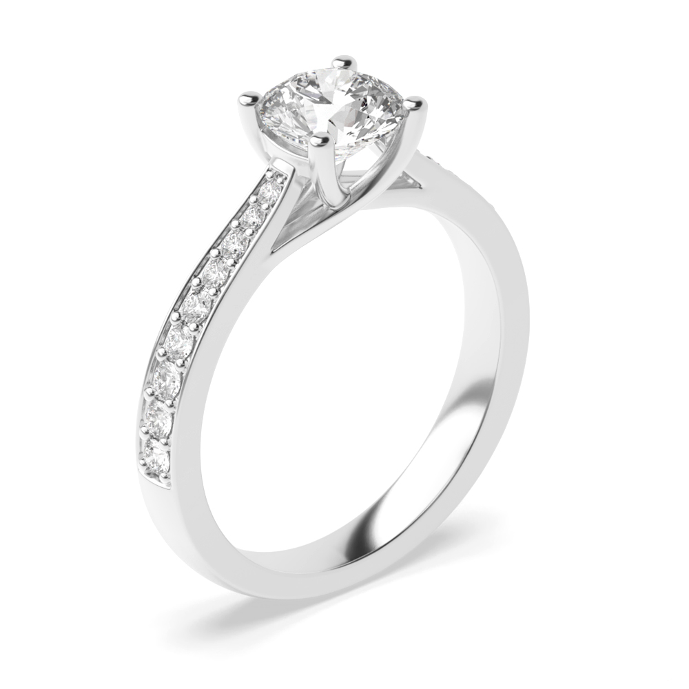 Classic Tappering Shoulder Side Stone Diamond Engagement Rings