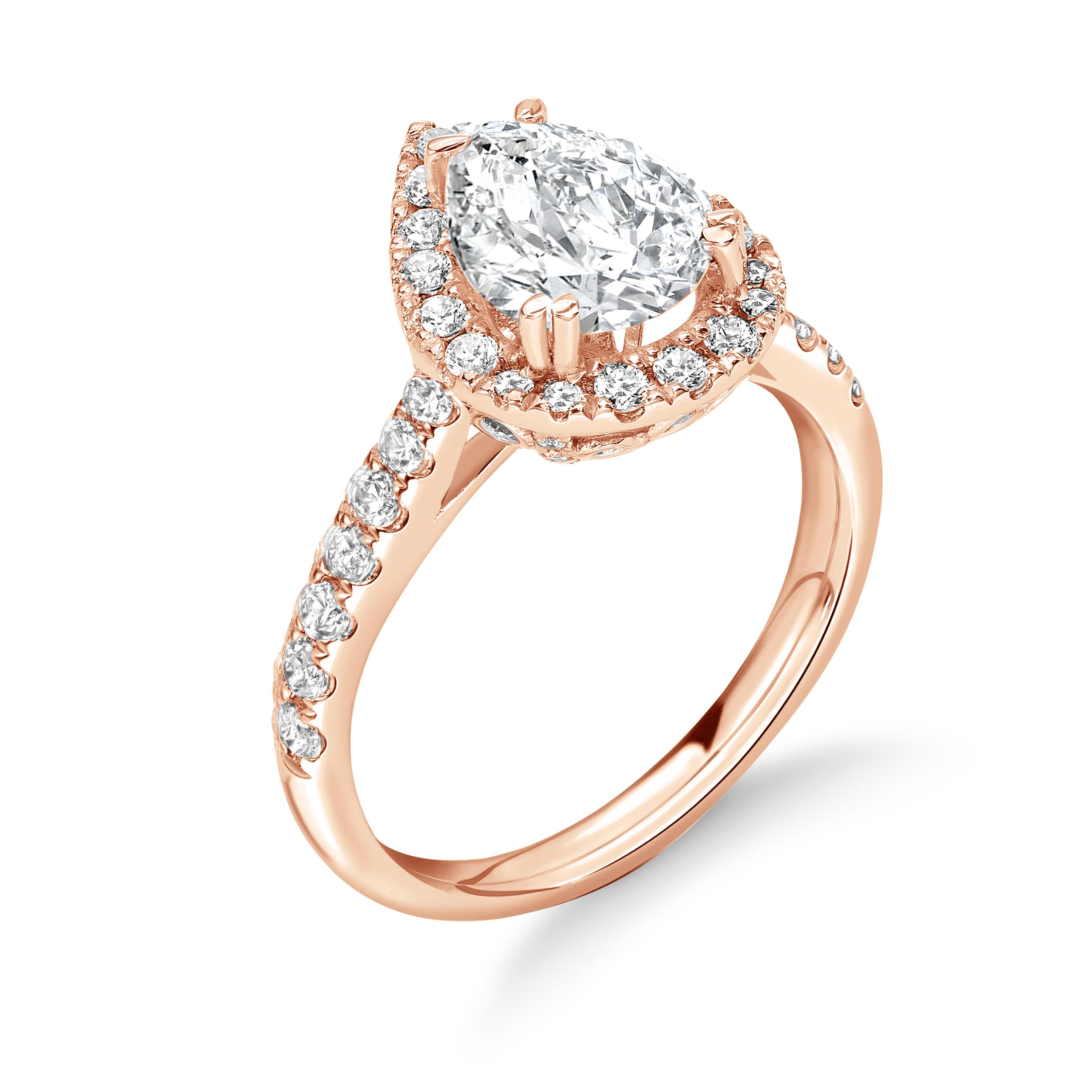 4 Prong Setting Round Shape Vintage Halo Diamond Engagement Rings