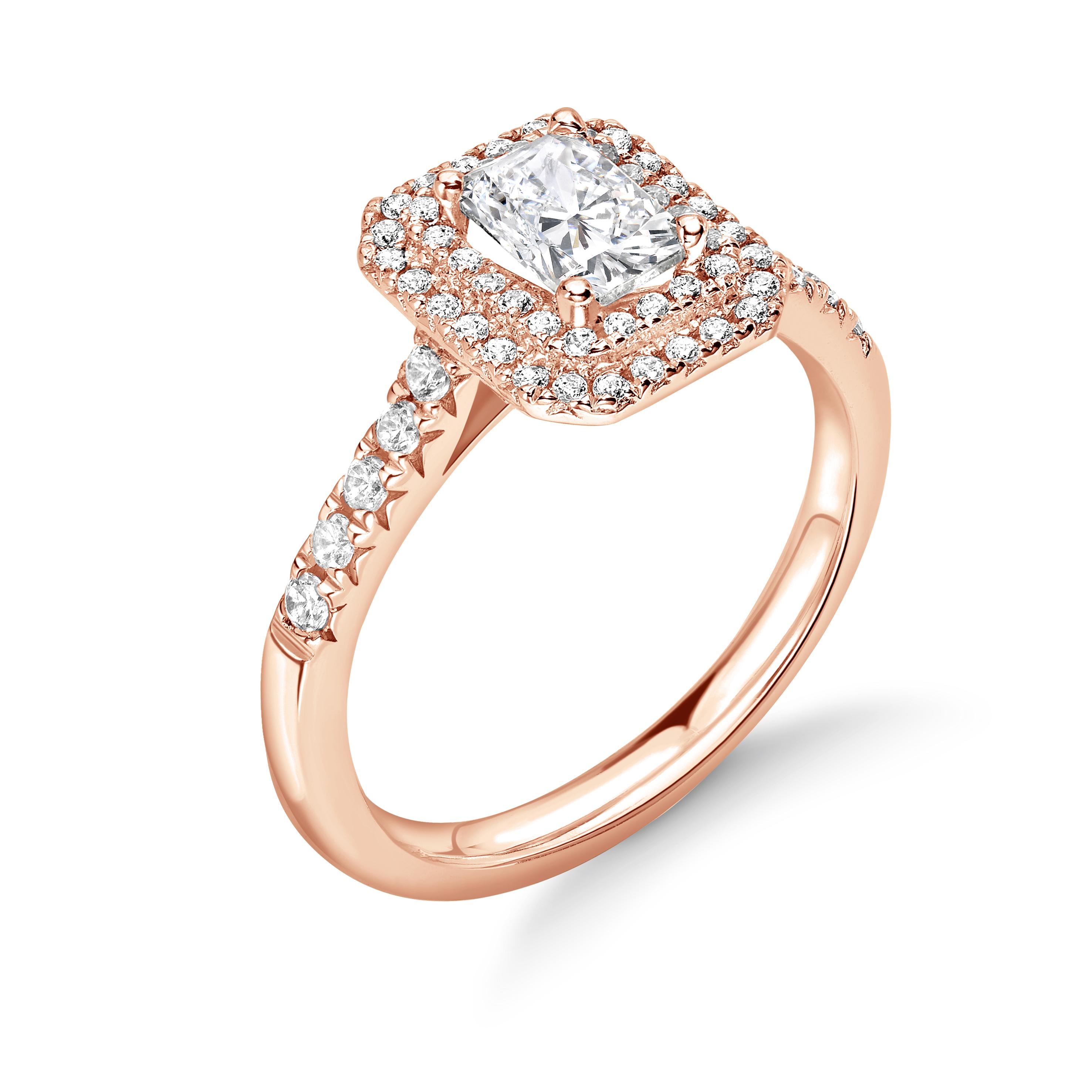 4 Prong Setting Radiant Shape two Raw Halo Diamond Engagement Rings