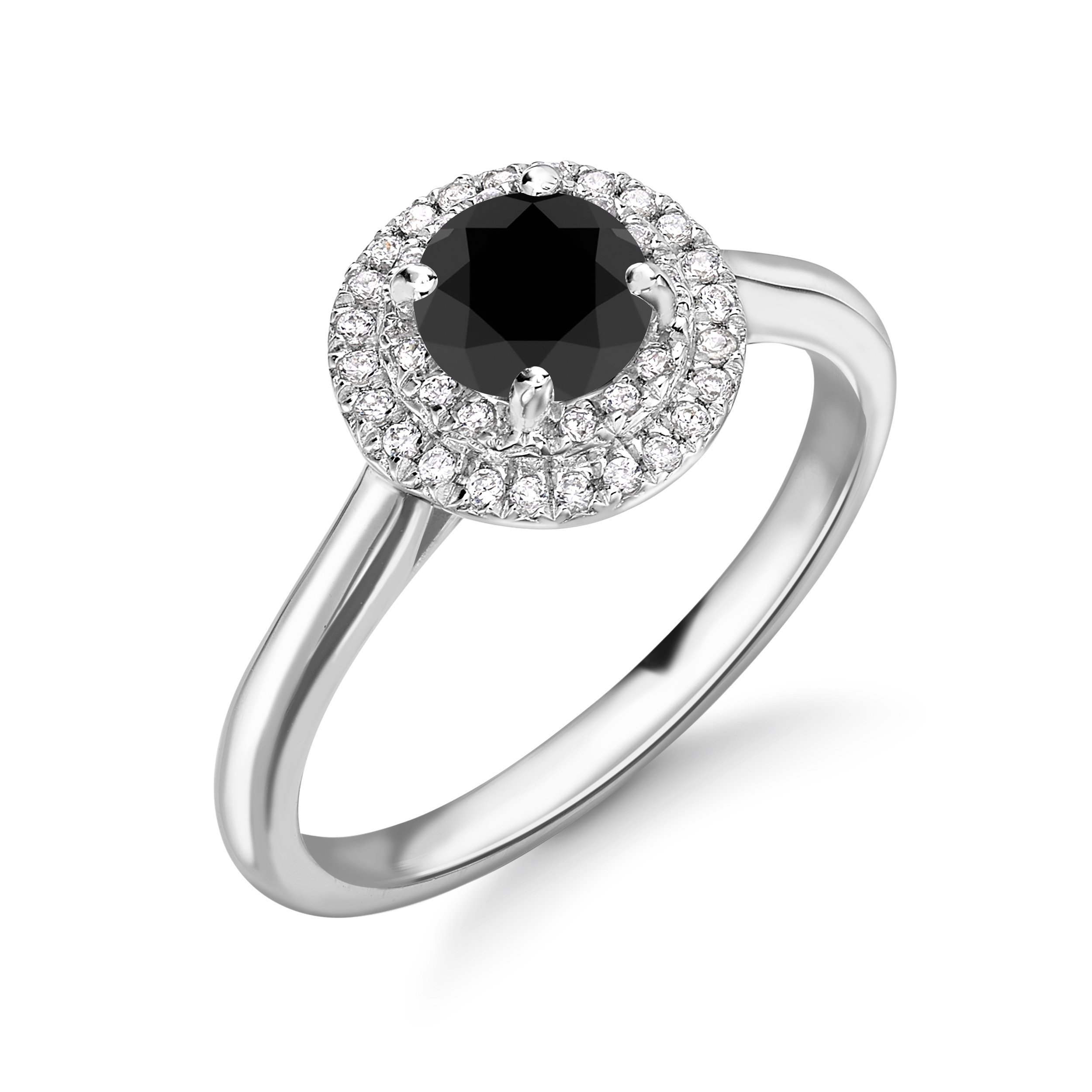 Plain Shoulder Two Raw Halo Luxurious Diamond Black Engagement Rings