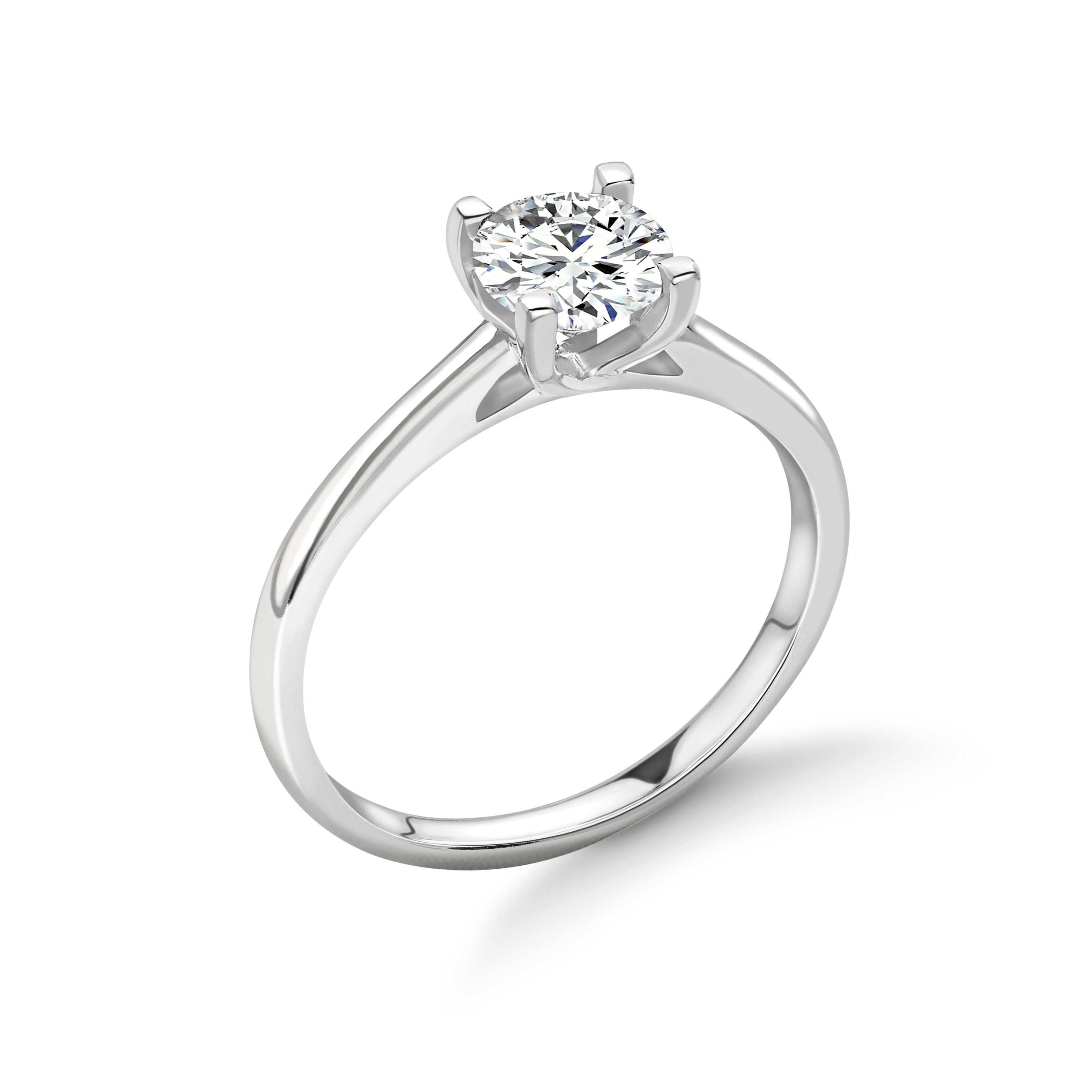 Classic 4 Square Claws Solitaire Diamond Engagement Rings