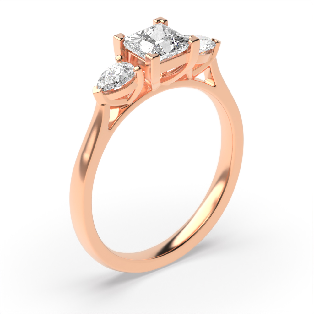 Princess & Pear Diamond Trilogy Engagement Rings for Women
