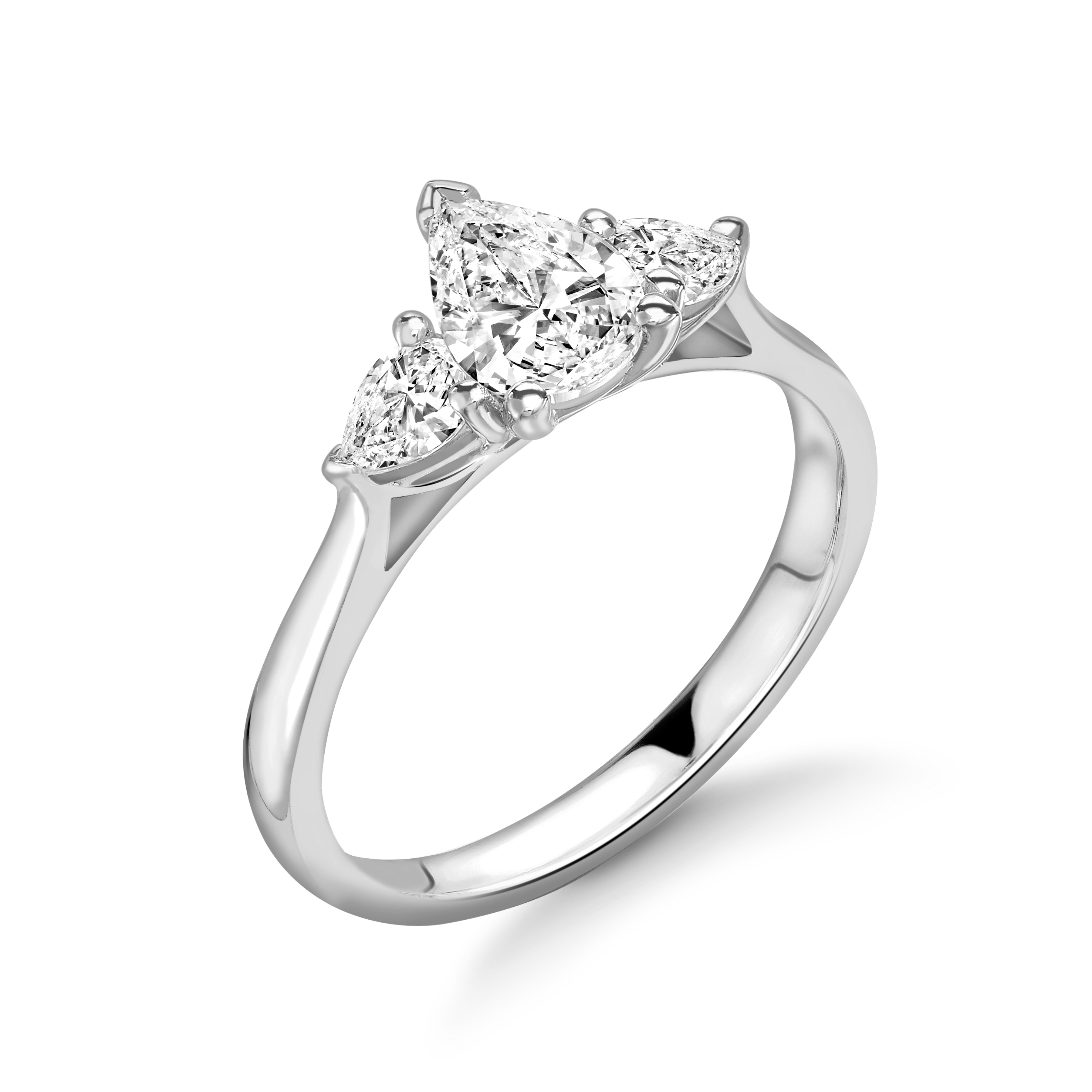 Pear Shape Diamond Three Stone Engagement Rings in UK