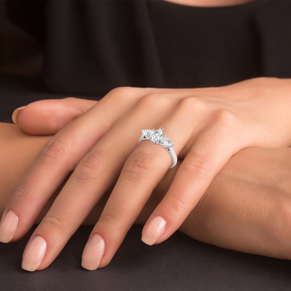 Pear Shape Diamond Three Stone Engagement Rings in UK