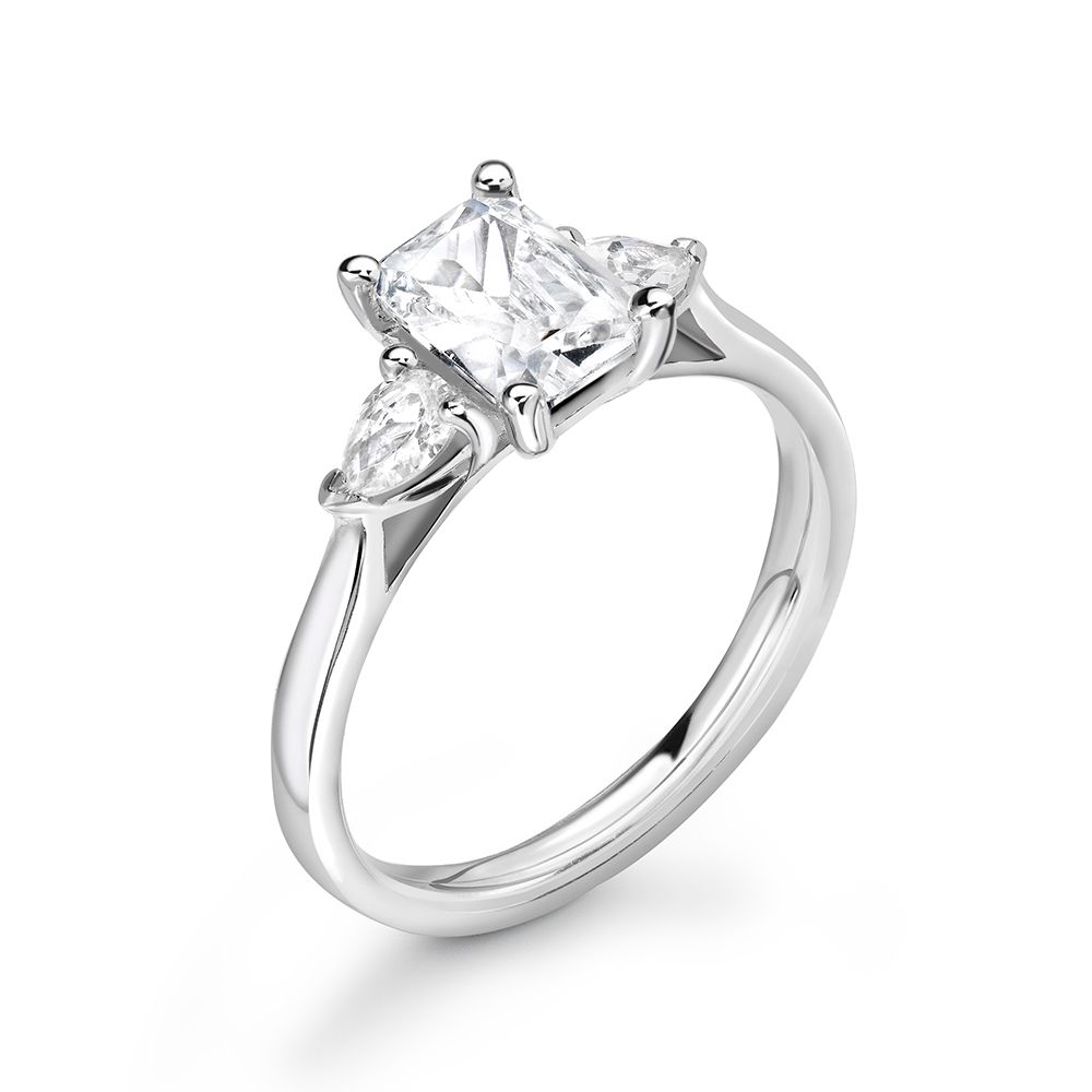 Radiant and Pear Diamond Trilogy Engagement Rings for Women