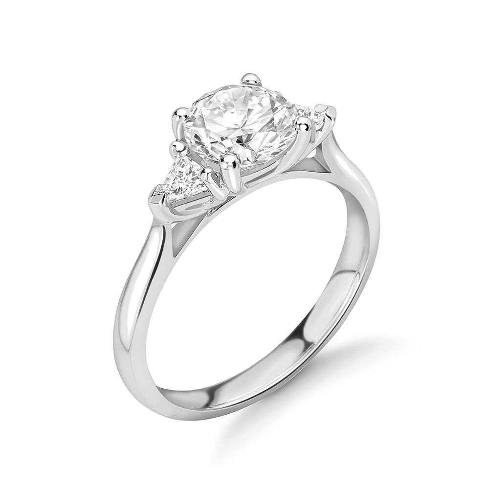 Round and Trillion Shape Diamond Trilogy Engagement Rings