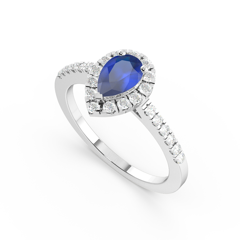 4 Prong Setting Pear Shape  Halo Blue Sapphire Engagement Rings
