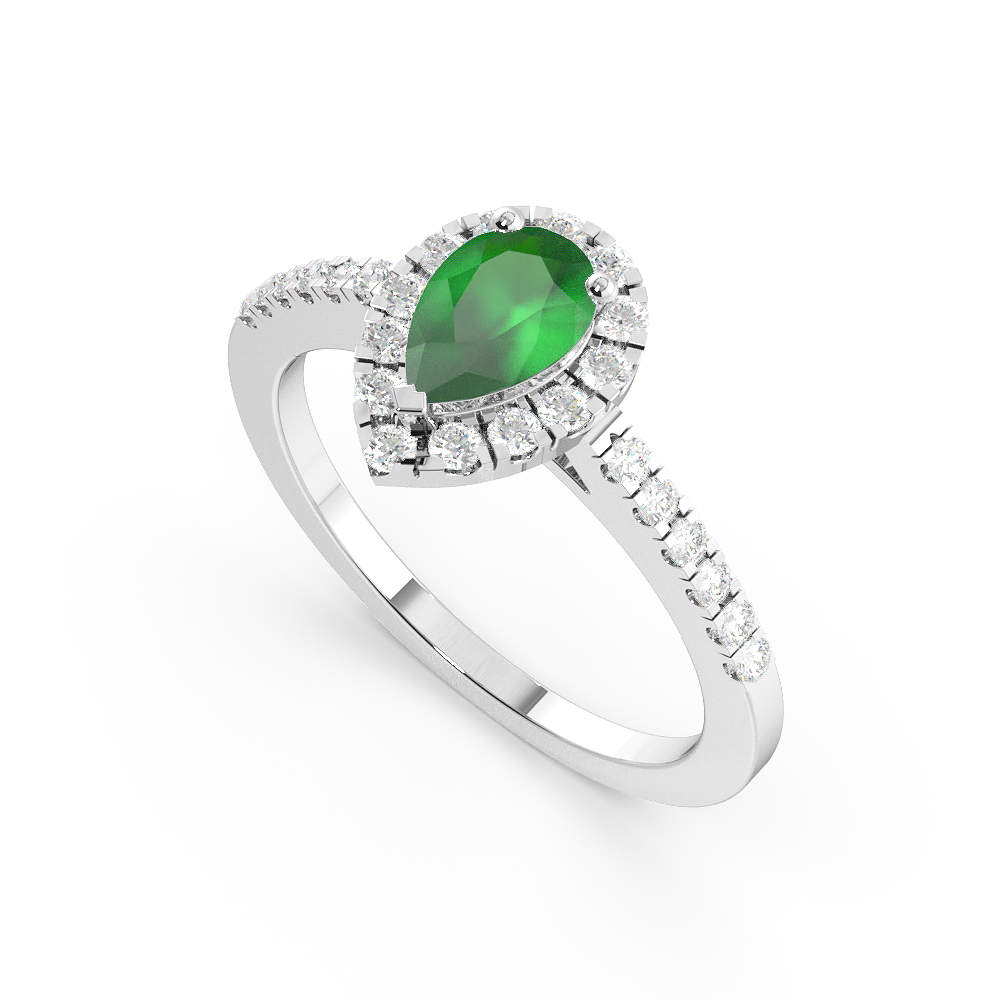 4 Prong Setting Pear Shape  Halo Emerald Engagement Rings