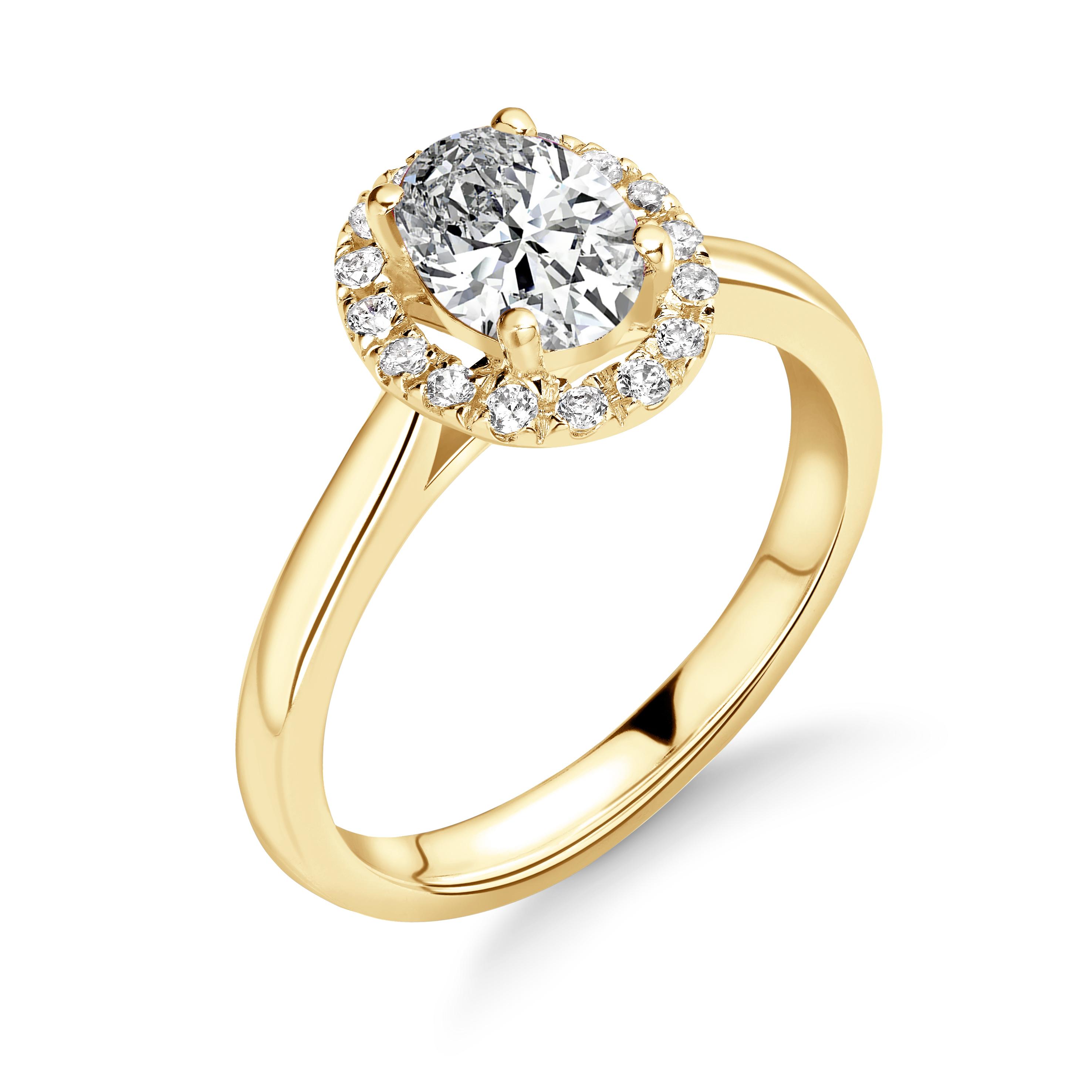 4 Prong Setting Oval Shape Circle of Diamond Halo Diamond Engagement Rings