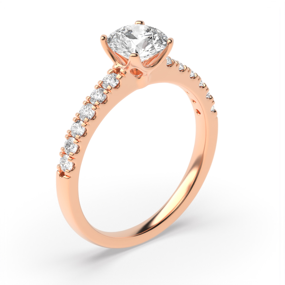 Modern Flower Style Setting Side Stone Diamond Engagement Ring