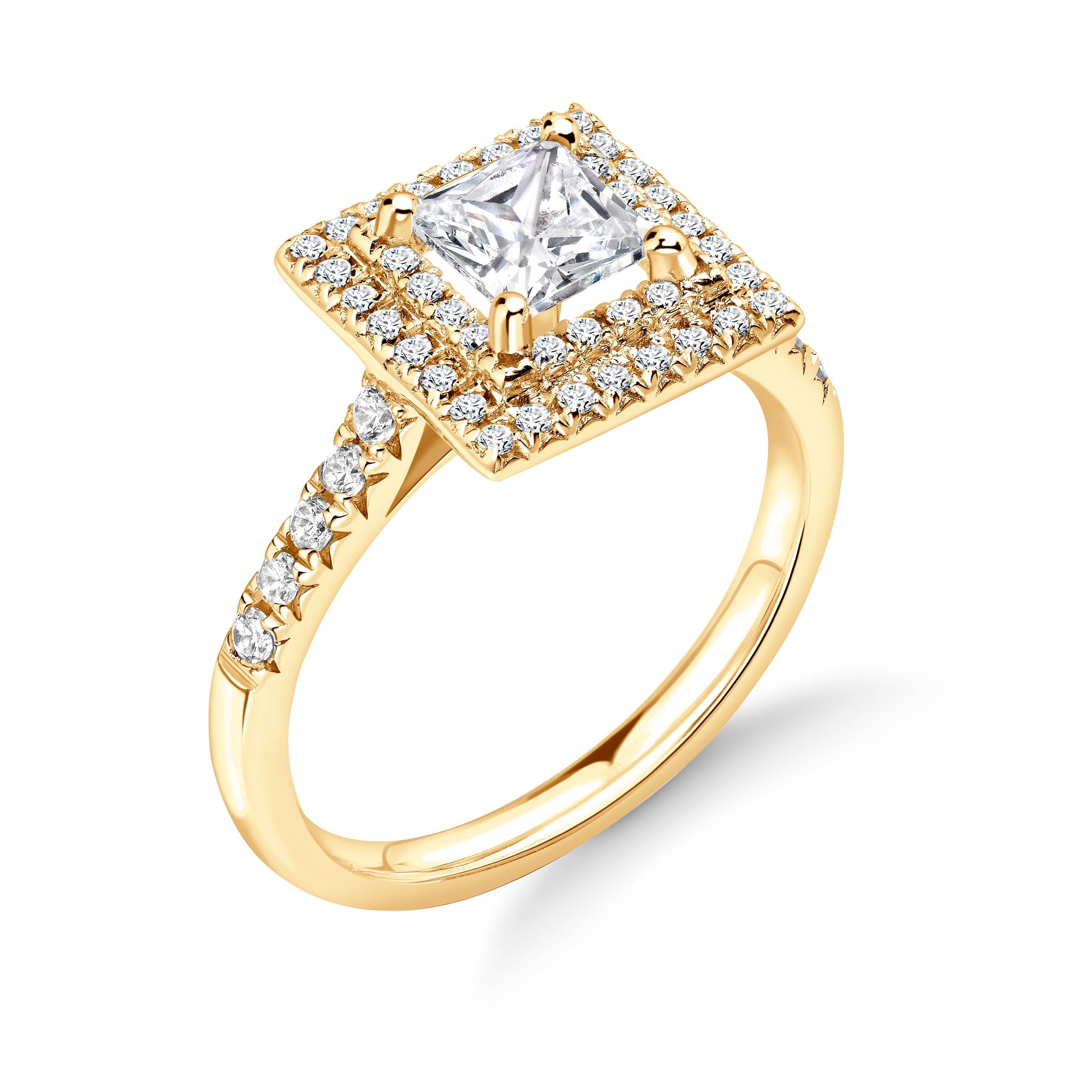 4 Prong Setting Princess Shape 2 Raw Halo Diamond Engagement Rings