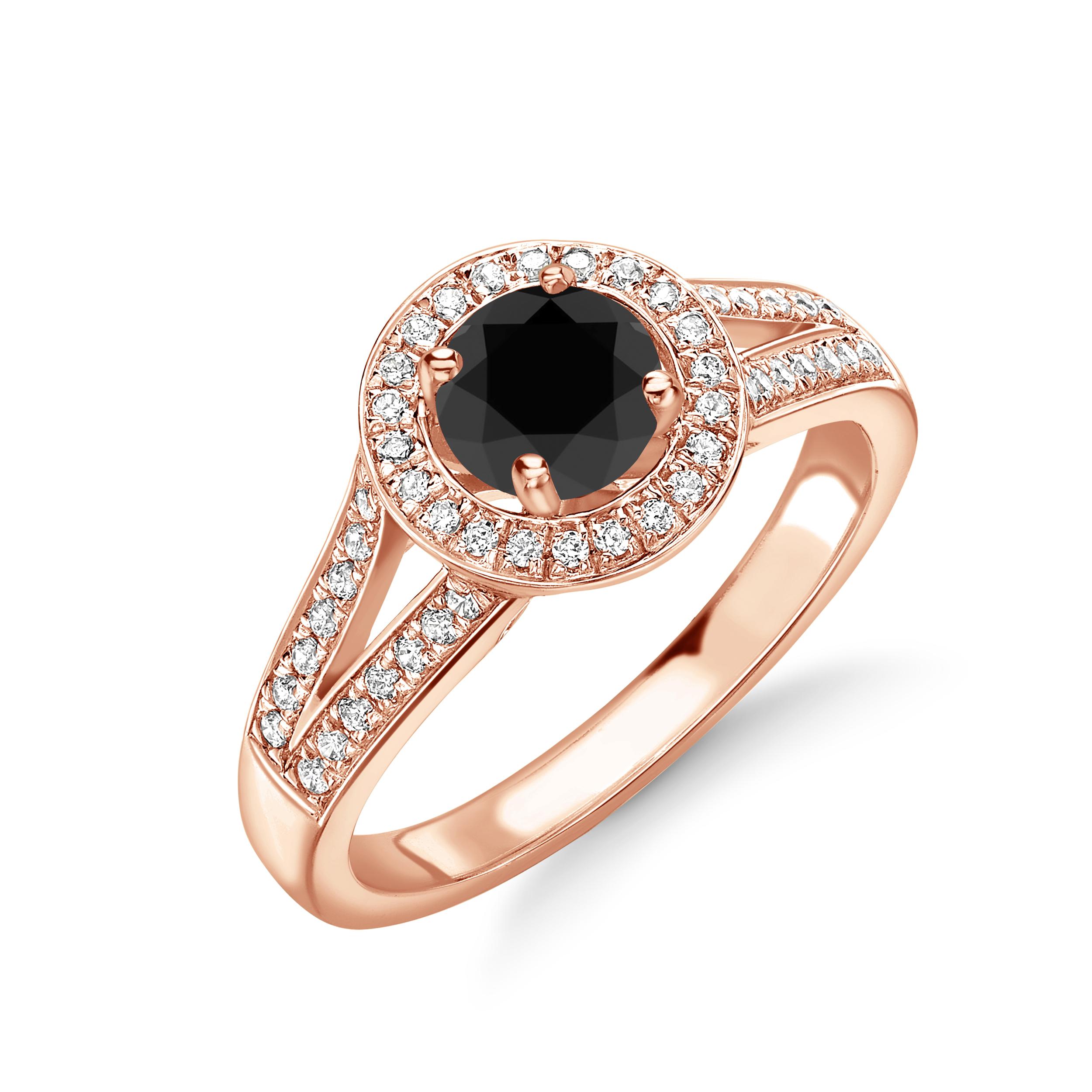 Split Band Black and White Diamond Halo Engagement Rings