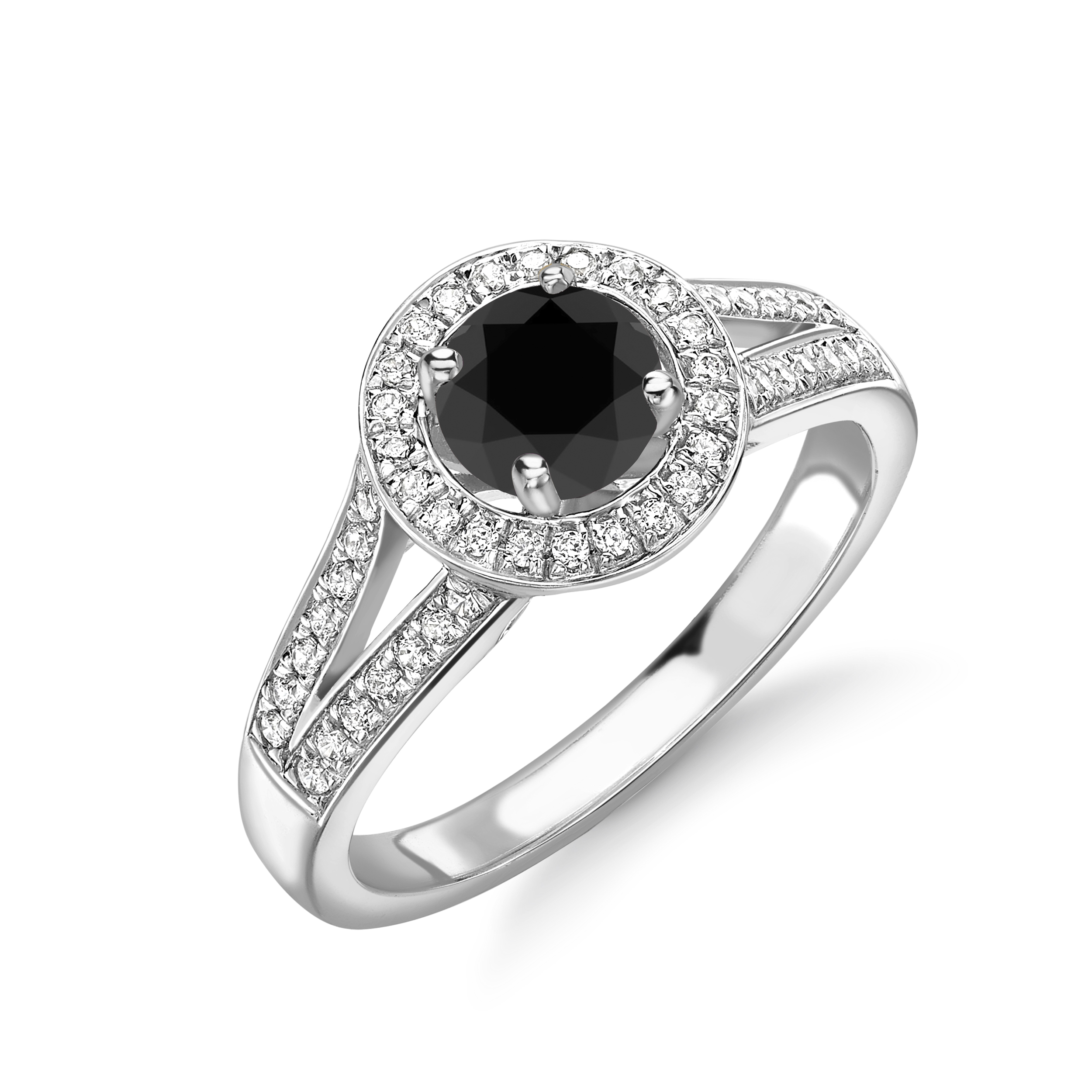 Split Band Black and White Diamond Halo Engagement Rings