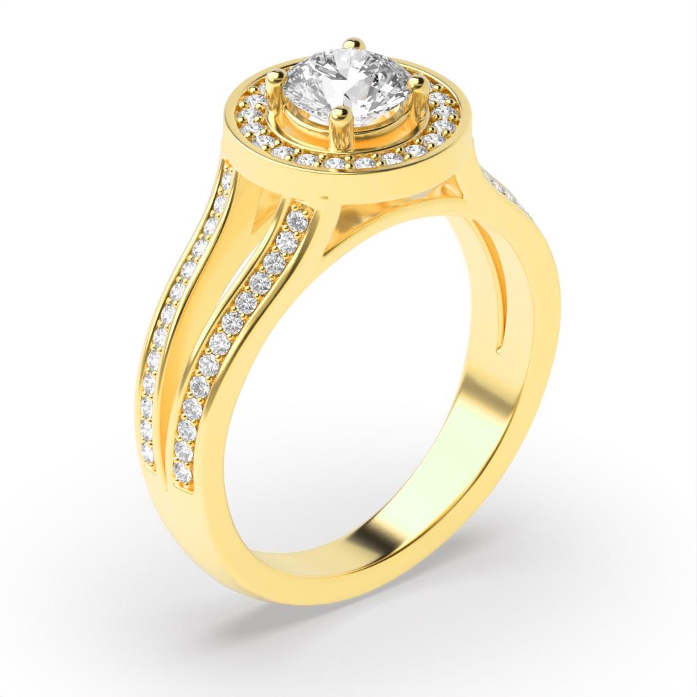 4 Prong Setting Round Shape Split Band Halo Diamond Engagement Rings