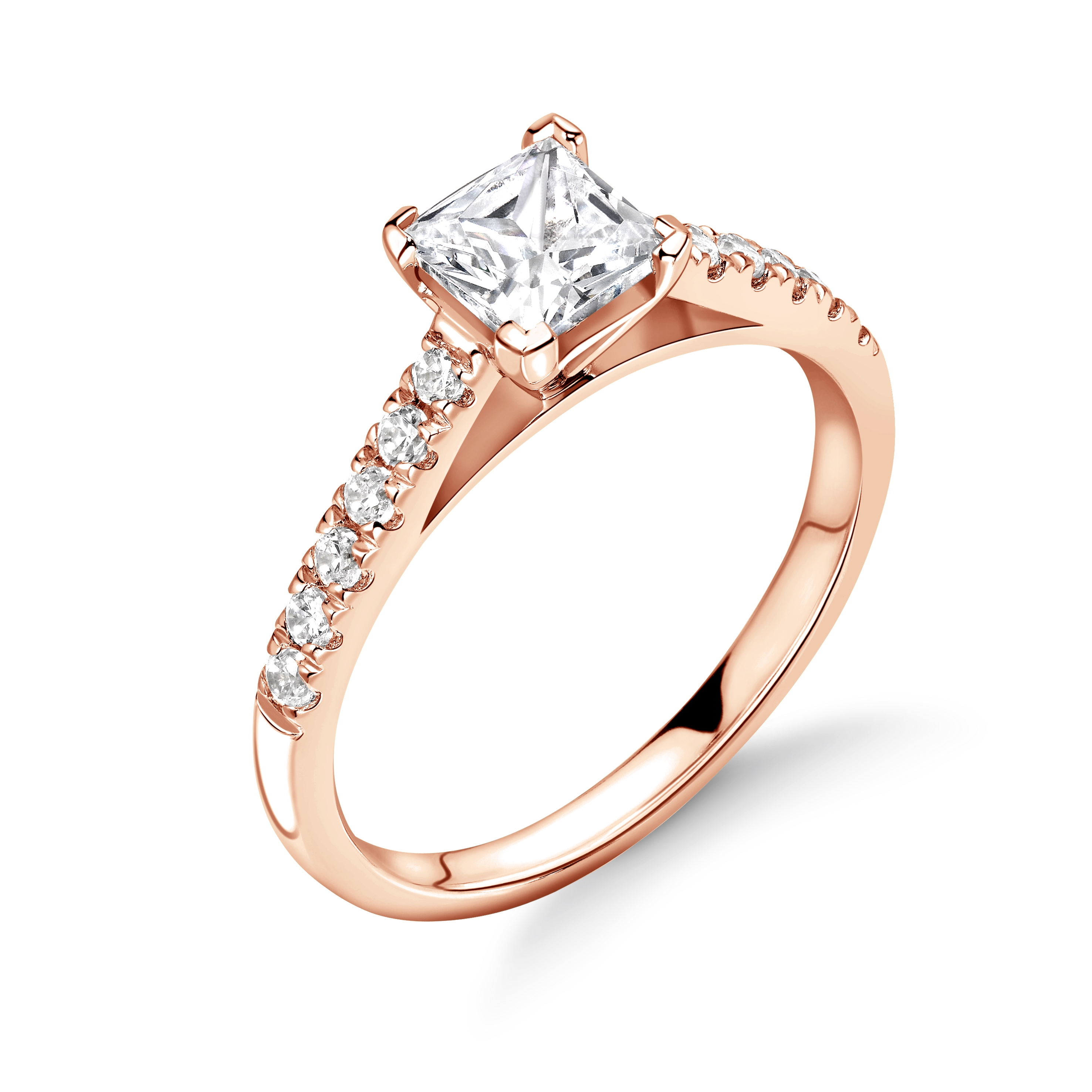 Princess Shape Corner Claw Diamond Side Stone Engagement Rings
