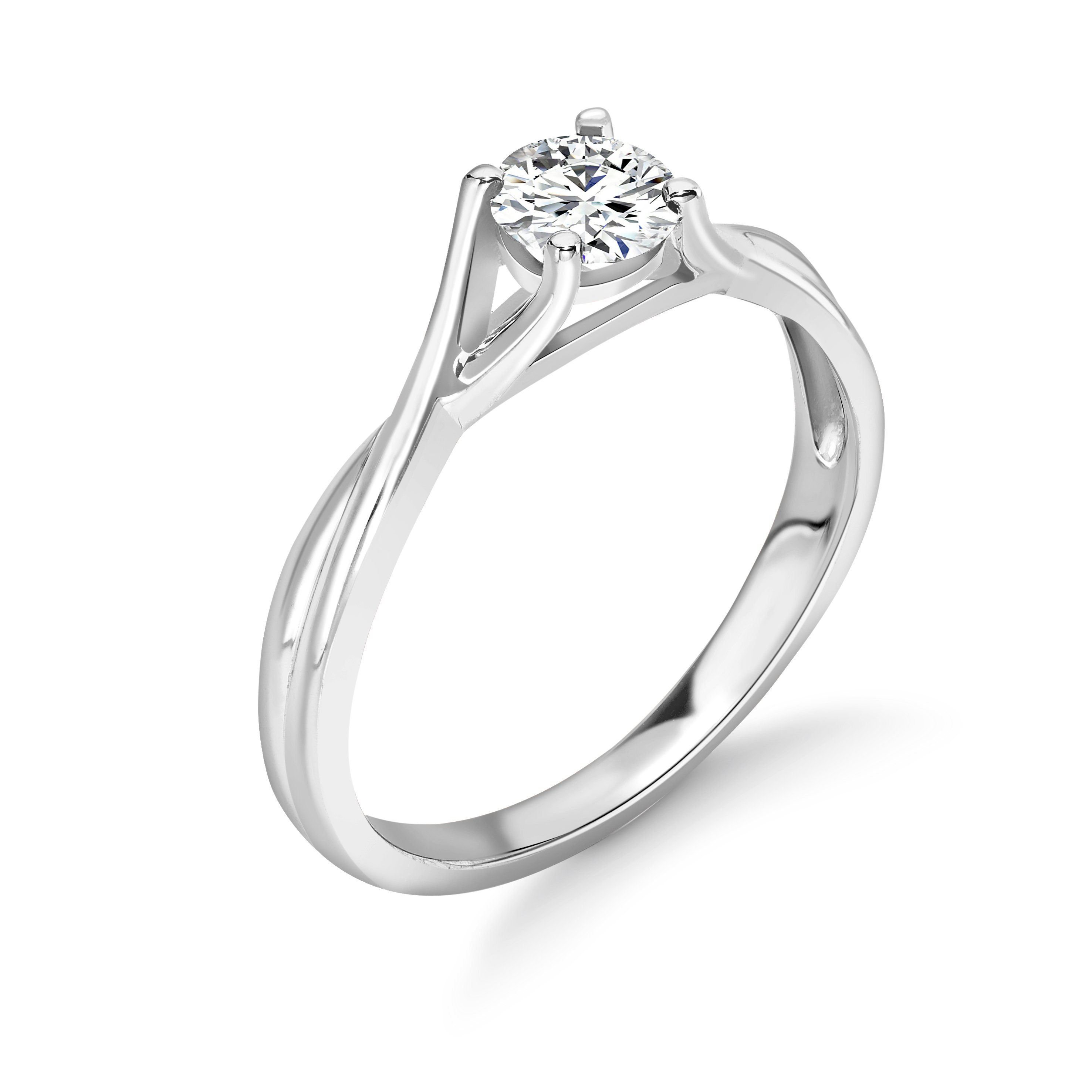 Contemprary Split Shoulder Cross Over Solitaire Diamond Engagement Rings