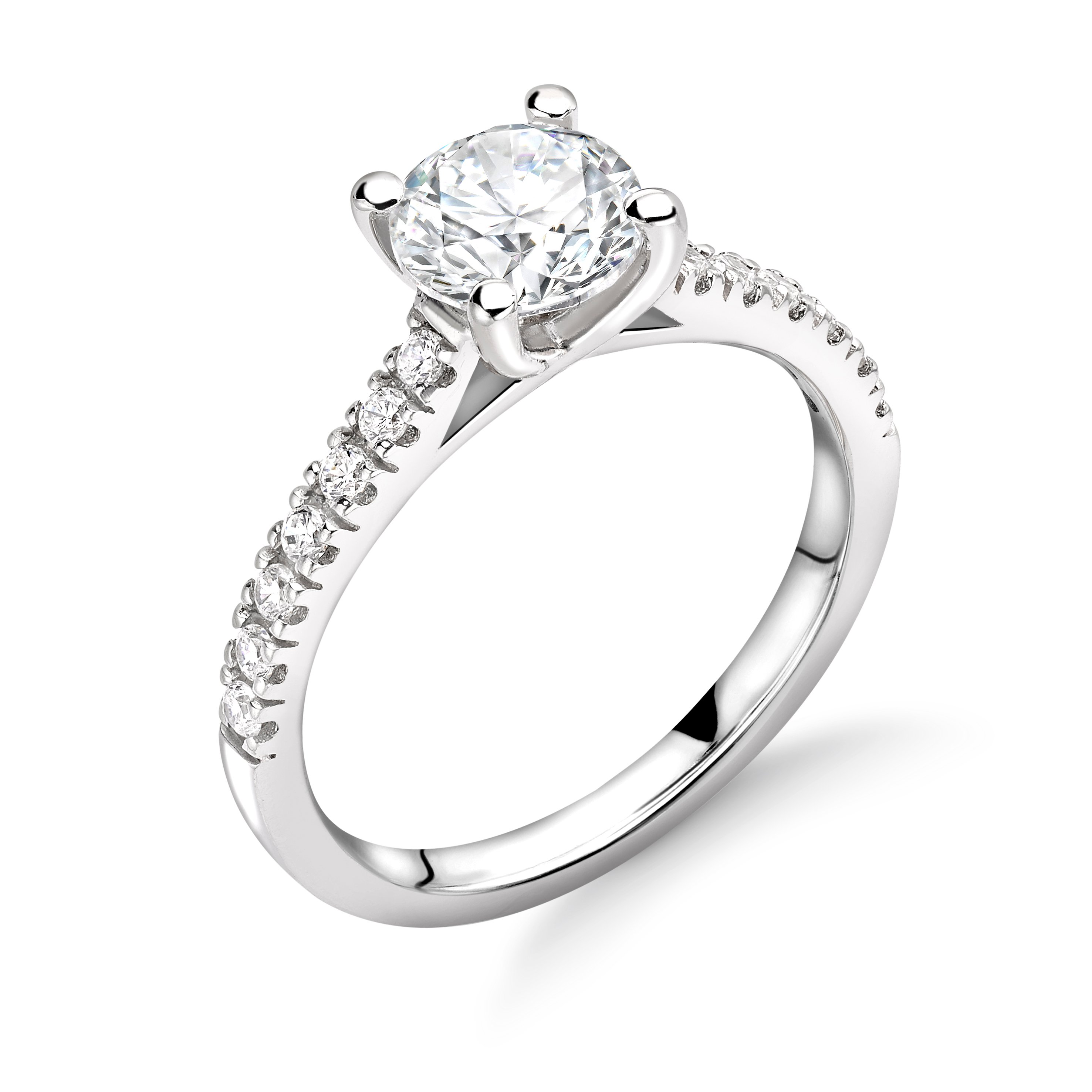 Cross Over Open Setting Side Stone Diamond Engagement Rings