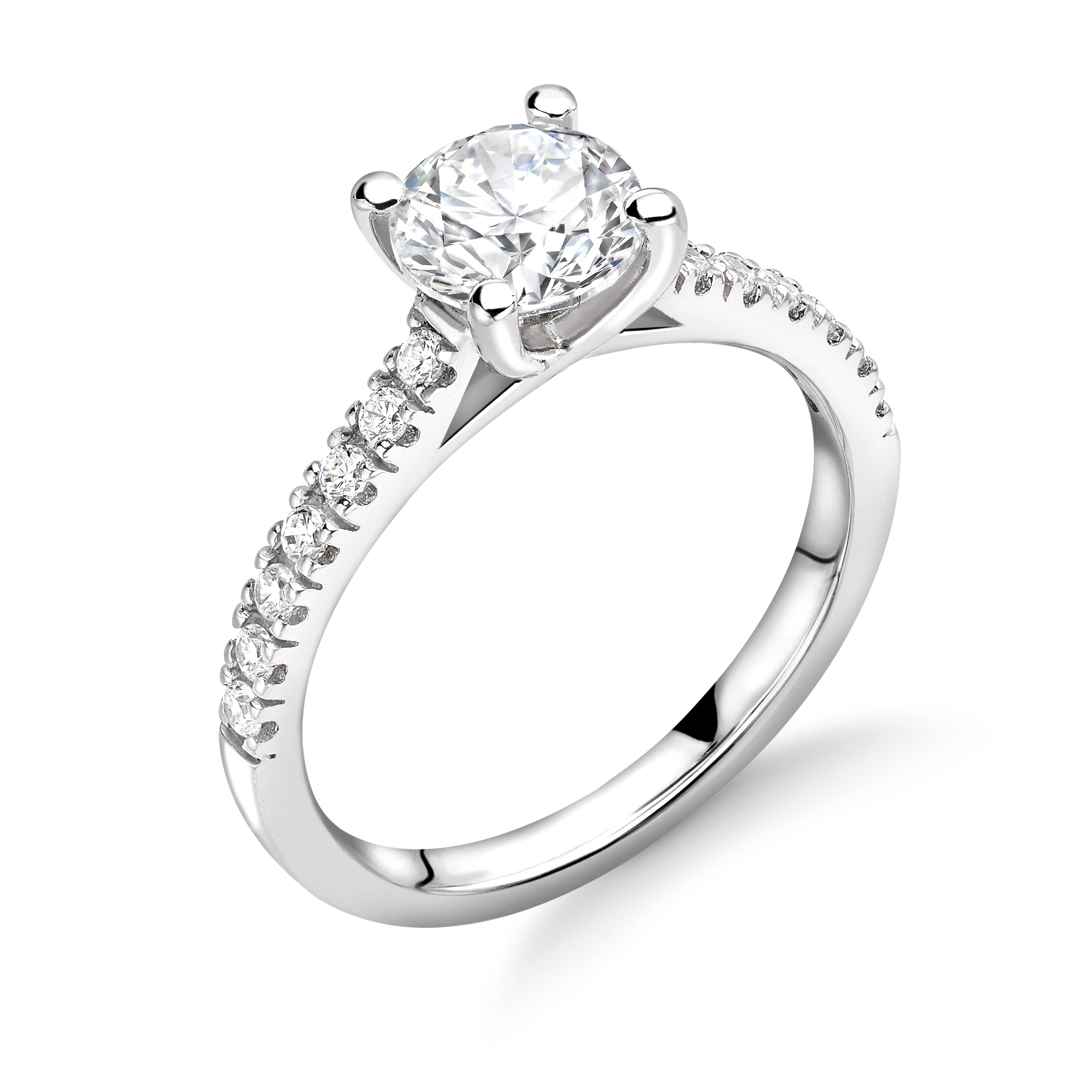 950 Platinum Round 1 7ct Diamond Solitaire Engagement Ring