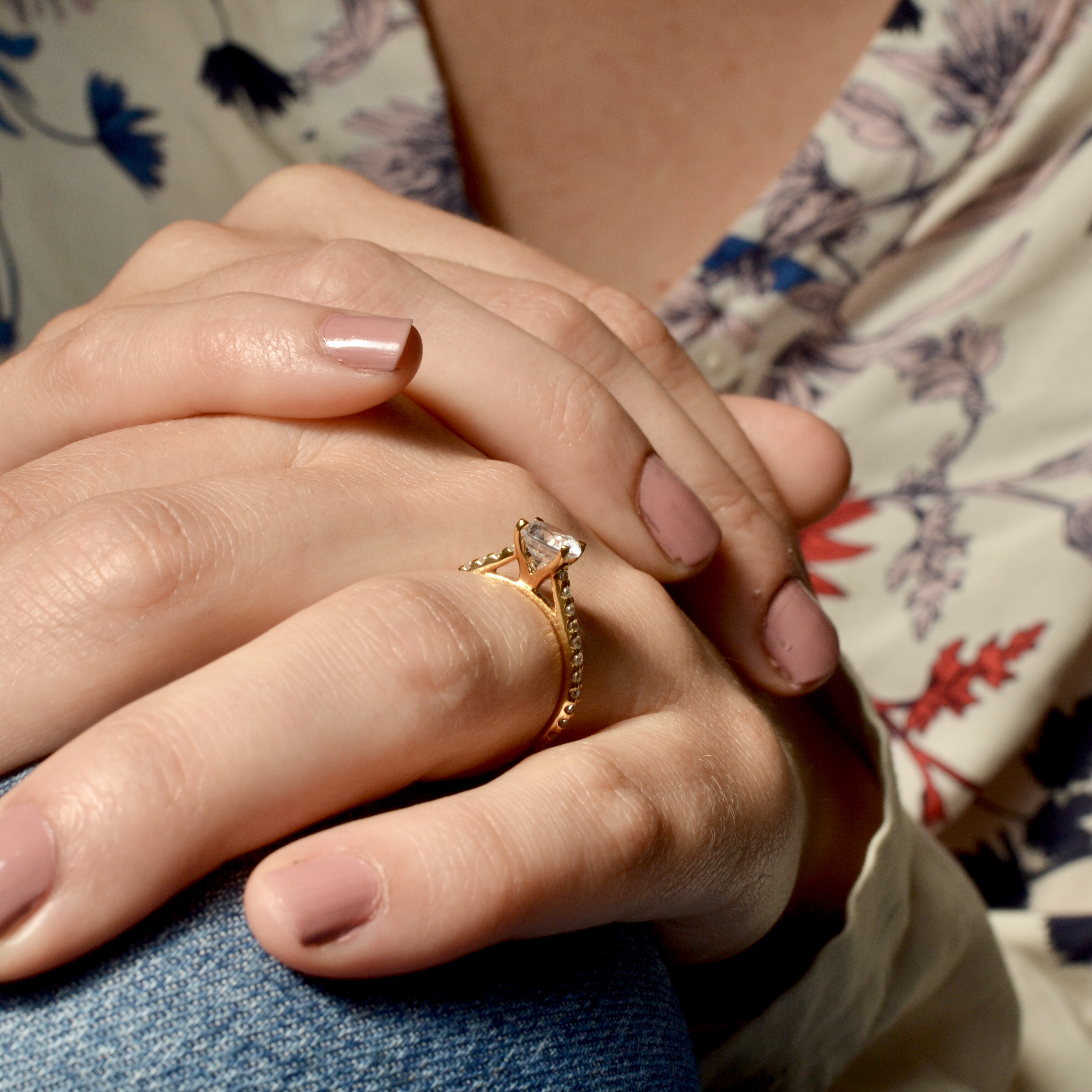 Cross Over Open Setting Side Stone Diamond Engagement Rings