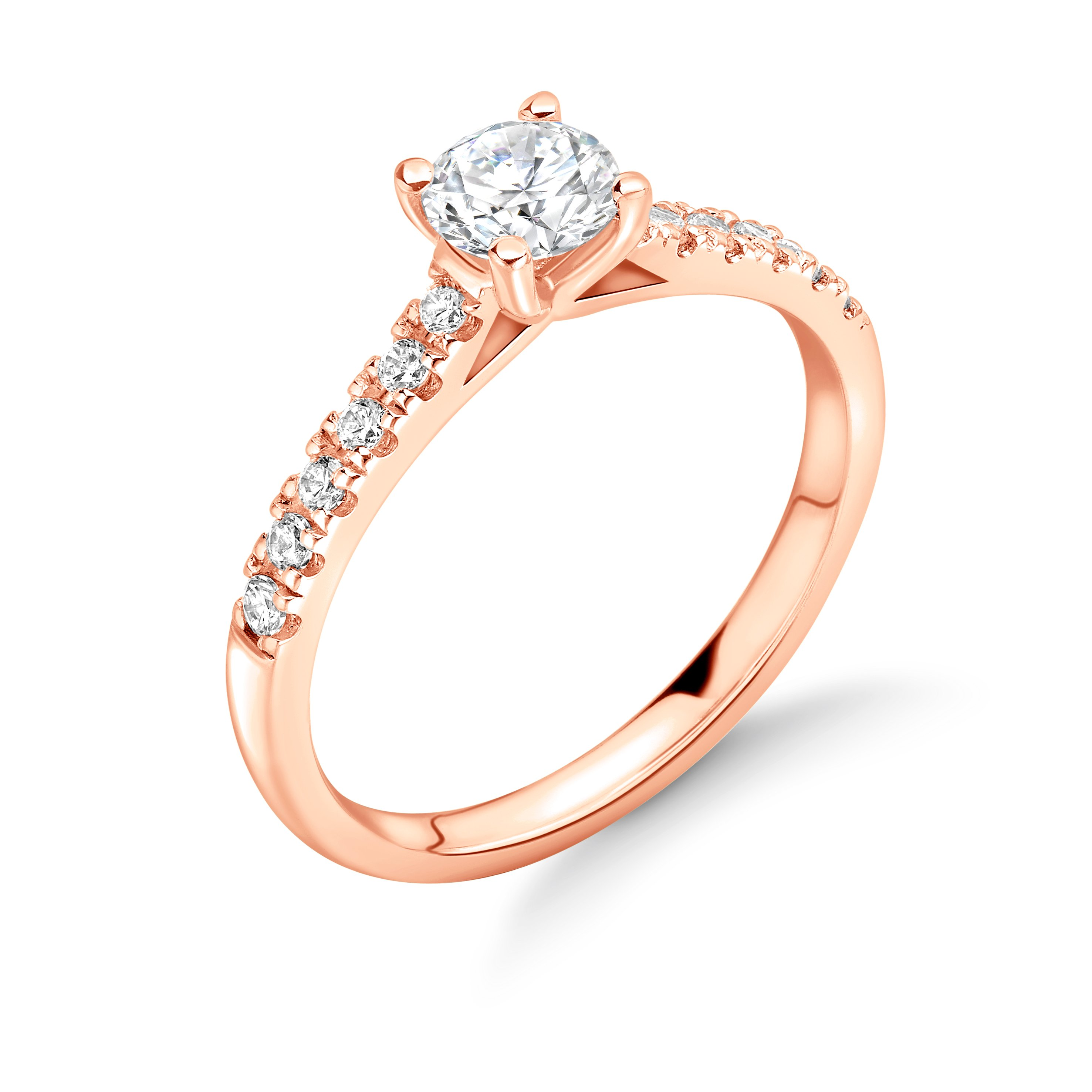Classic Open Setting Side Stone Diamond Engagement Rings