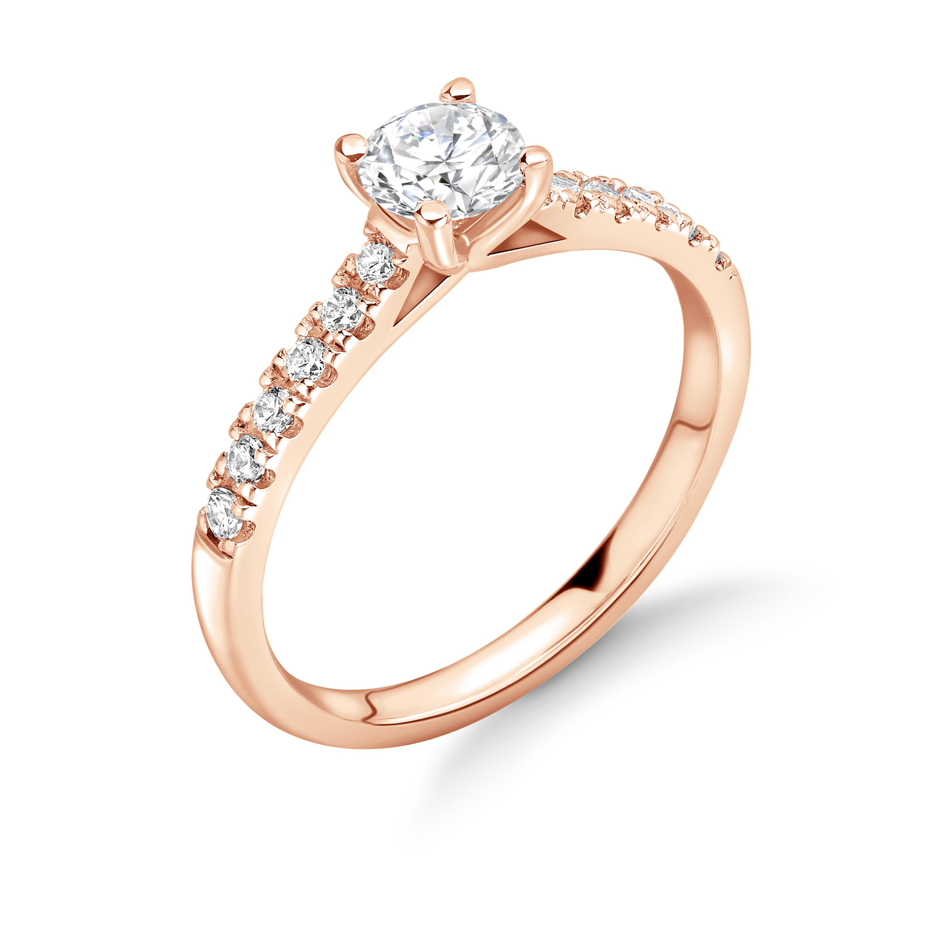 Classic Open Setting Side Stone Diamond Engagement Rings