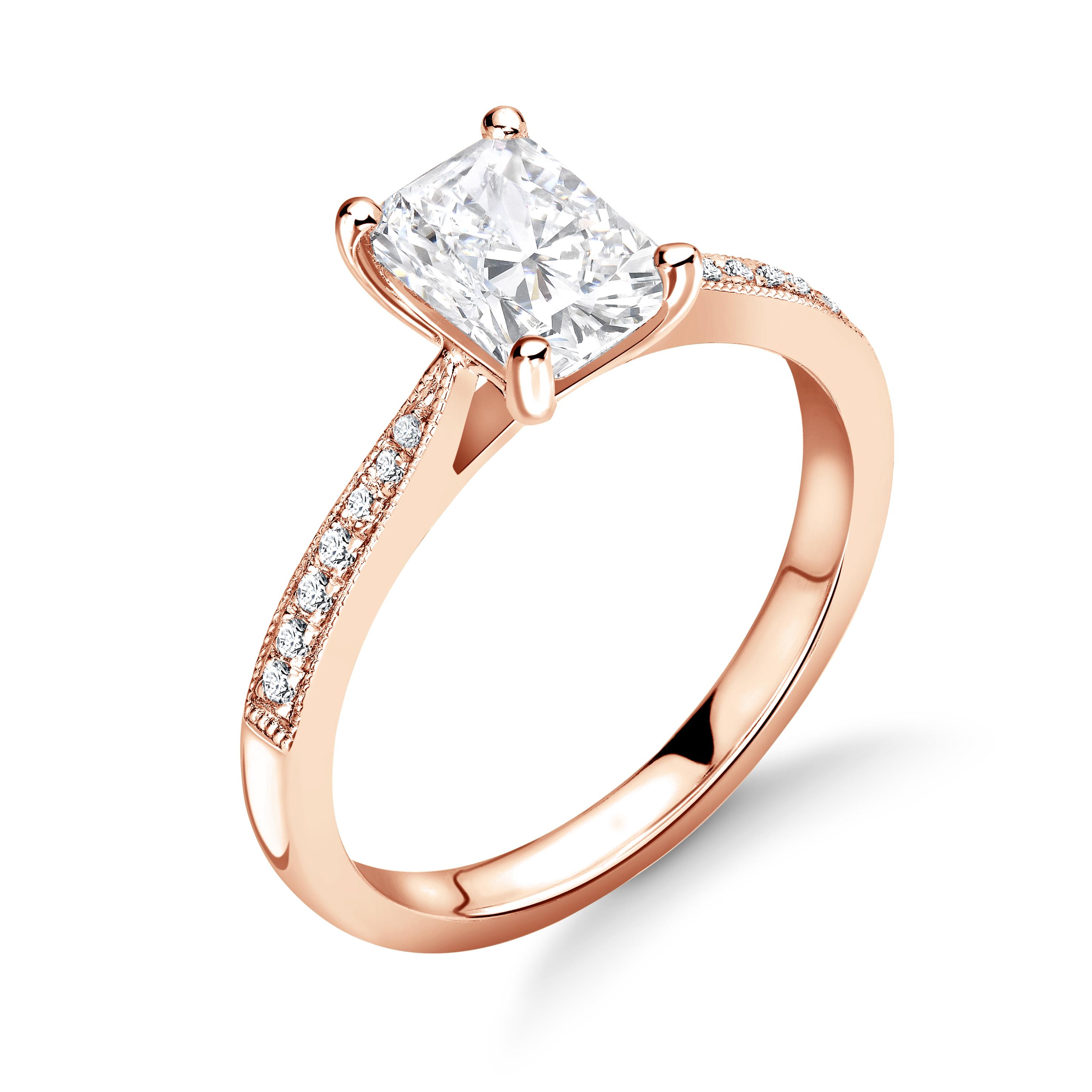 Radiant Cut Milligrain Edge Shoulder Set Diamond Engagement Ring