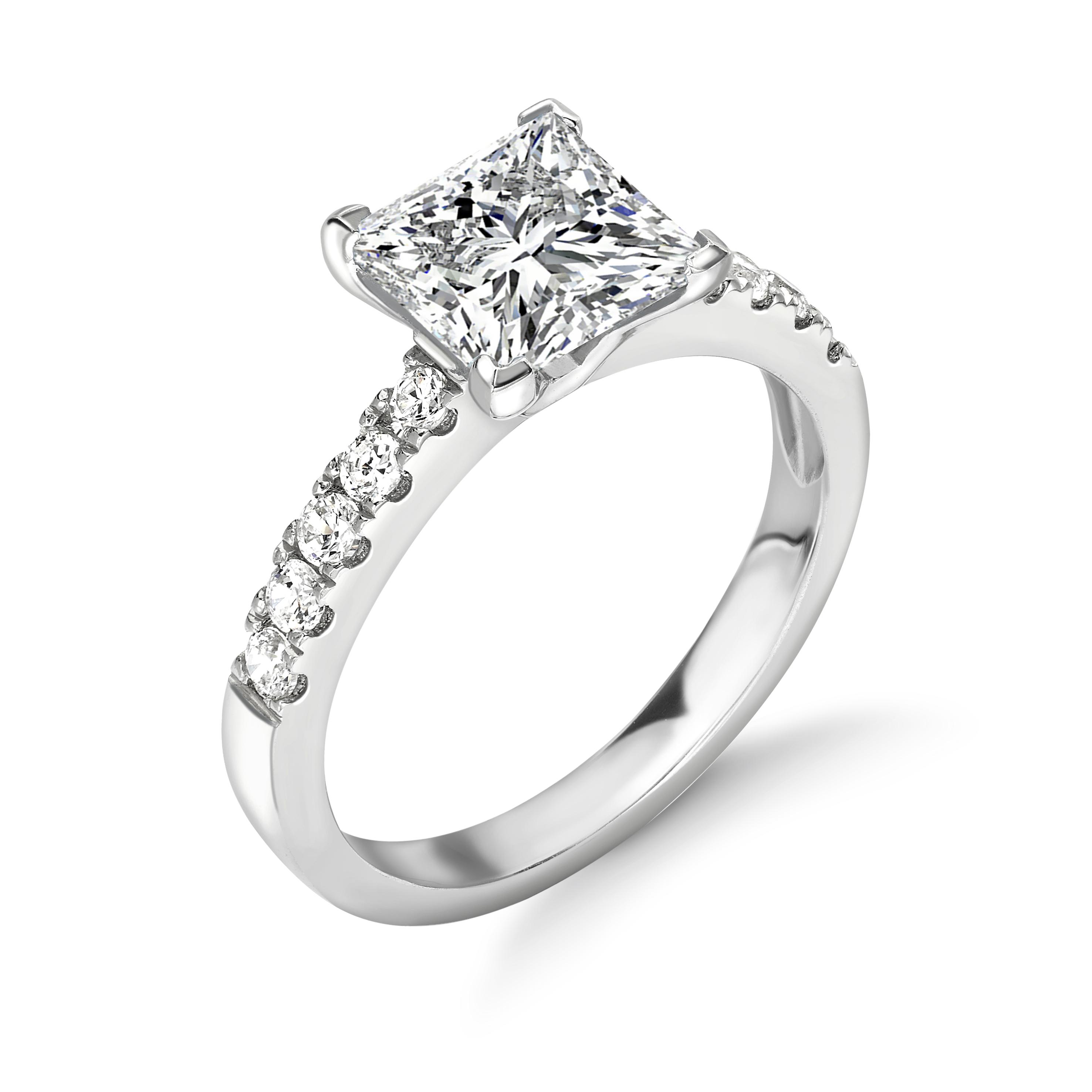 Princess Cut Square Diamond Side Stone Engagement Rings