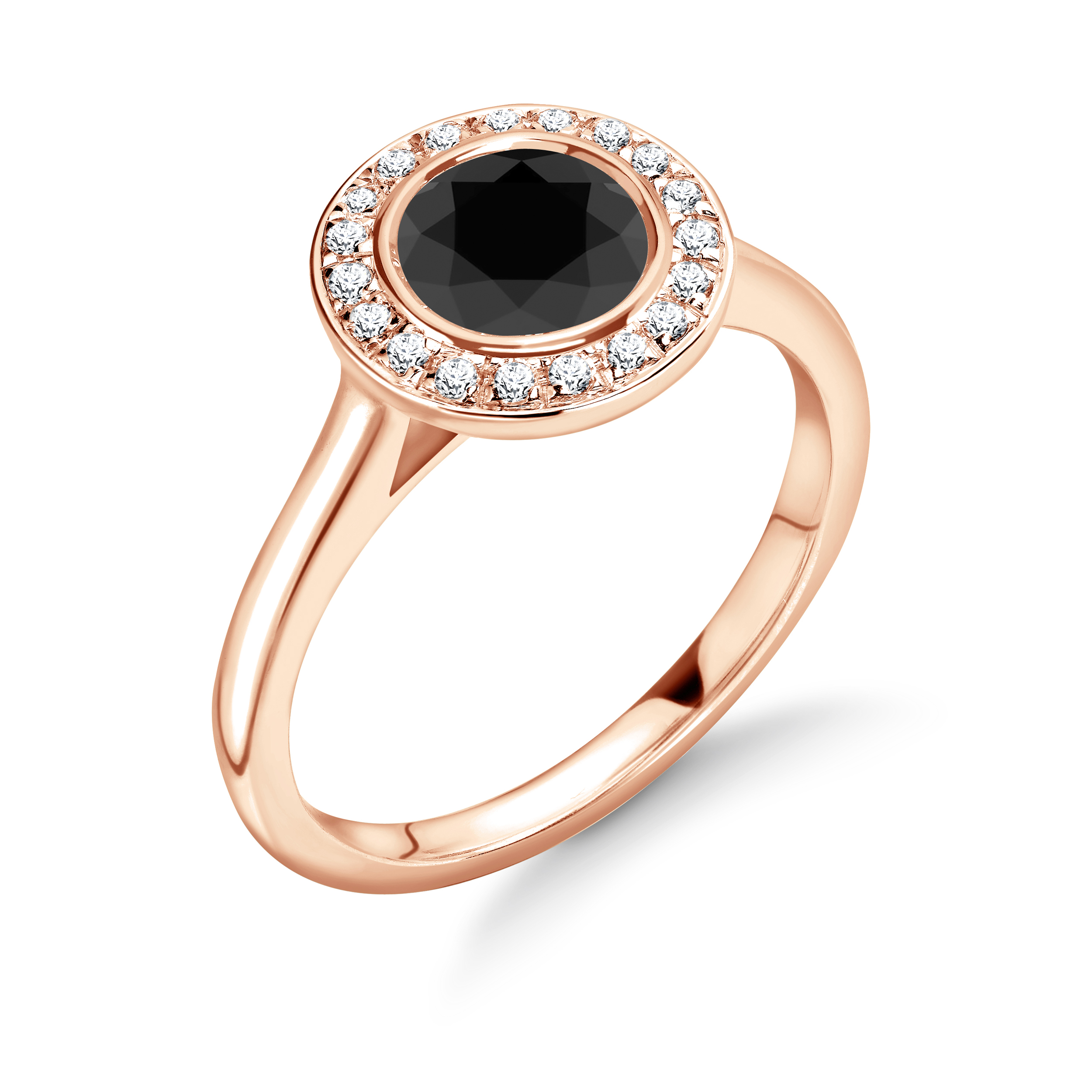 Delicate Popular Design Halo Engagement Black Diamond Rings