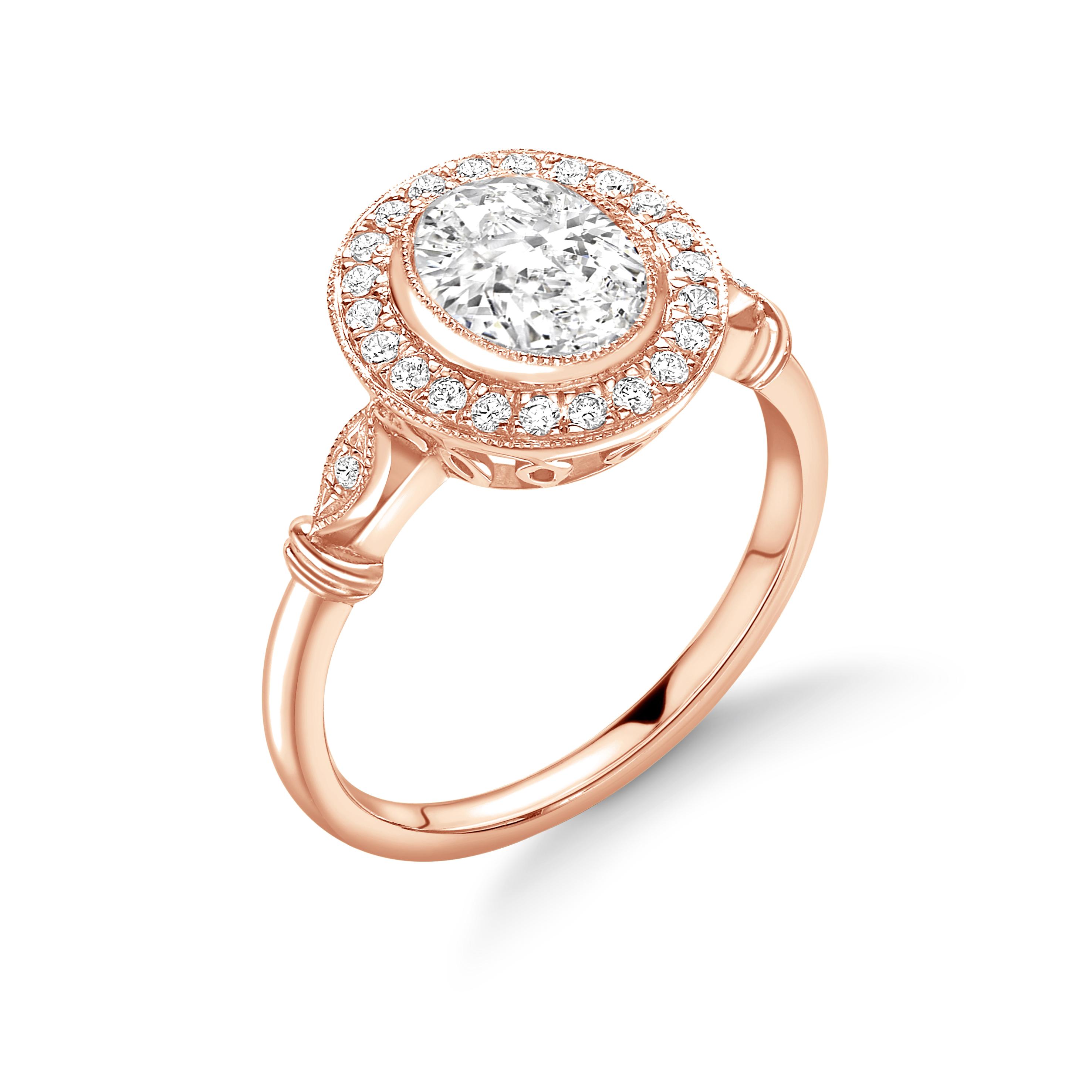 Bezel Setting Round Shape Vintage Style Miligrain Halo Diamond Engagement Rings