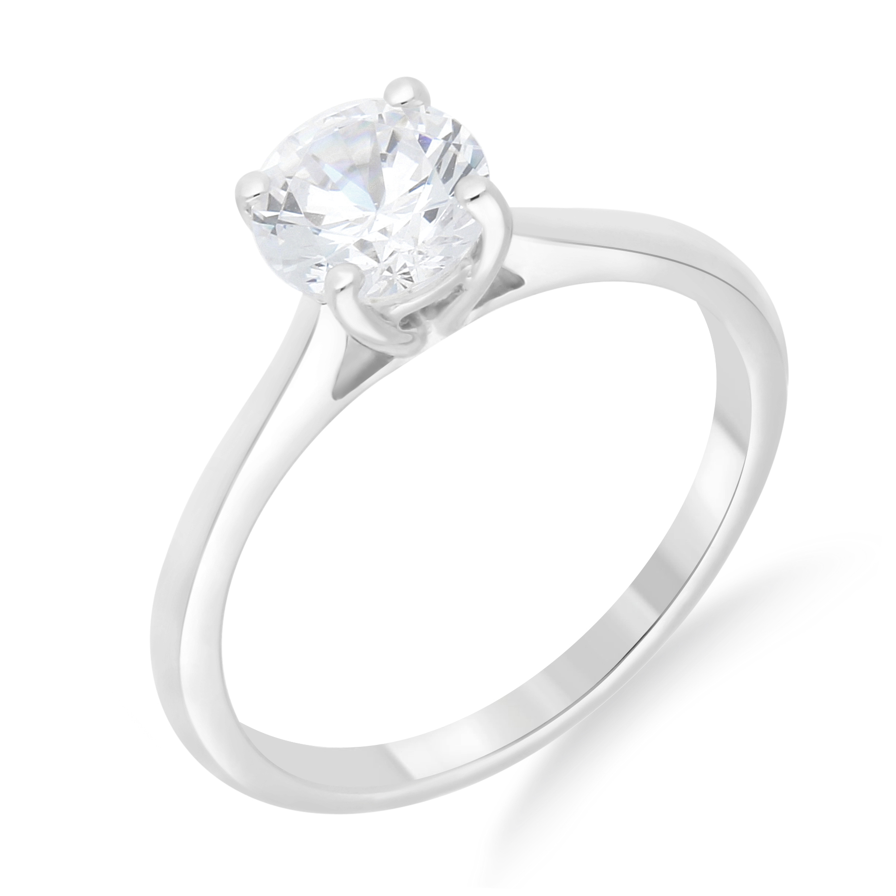 Classis Round Diamond Side Stone Diamond Engagement Ring with Pave Setting