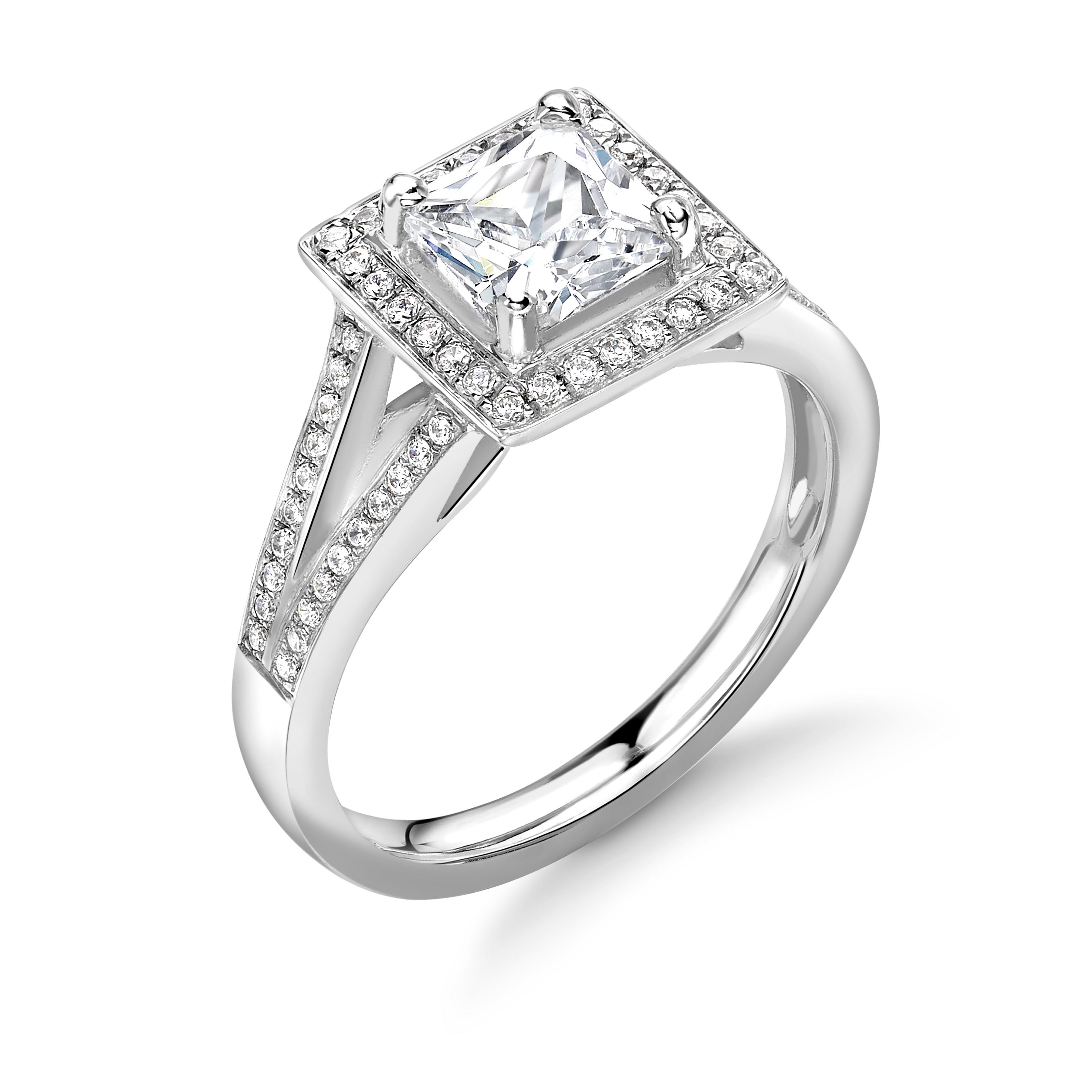 Prong Setting Princess Shape 2 Raw Shoulder Delicate Halo Diamond Engagement Rings