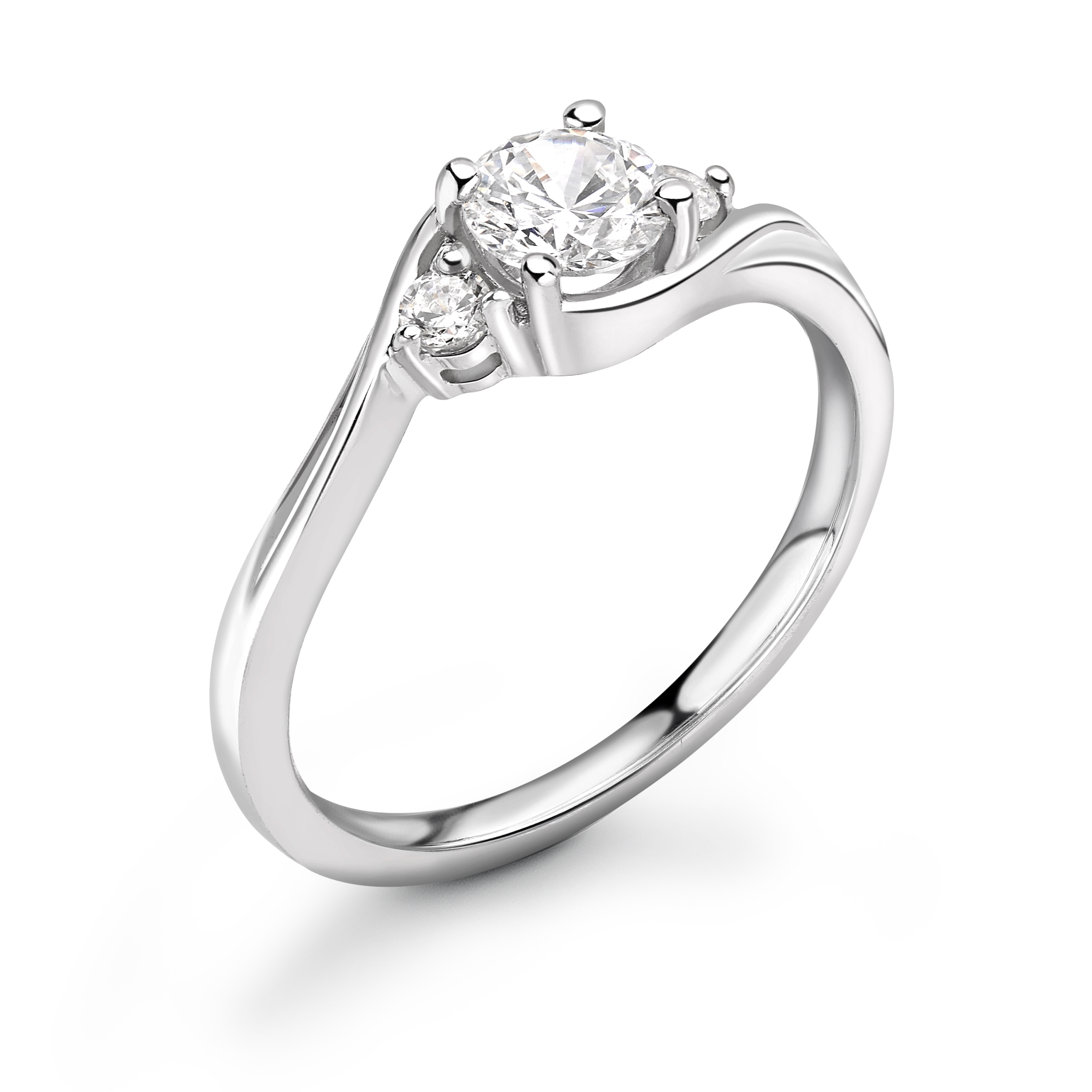 Kissing Style Round Diamond Engagement Ring