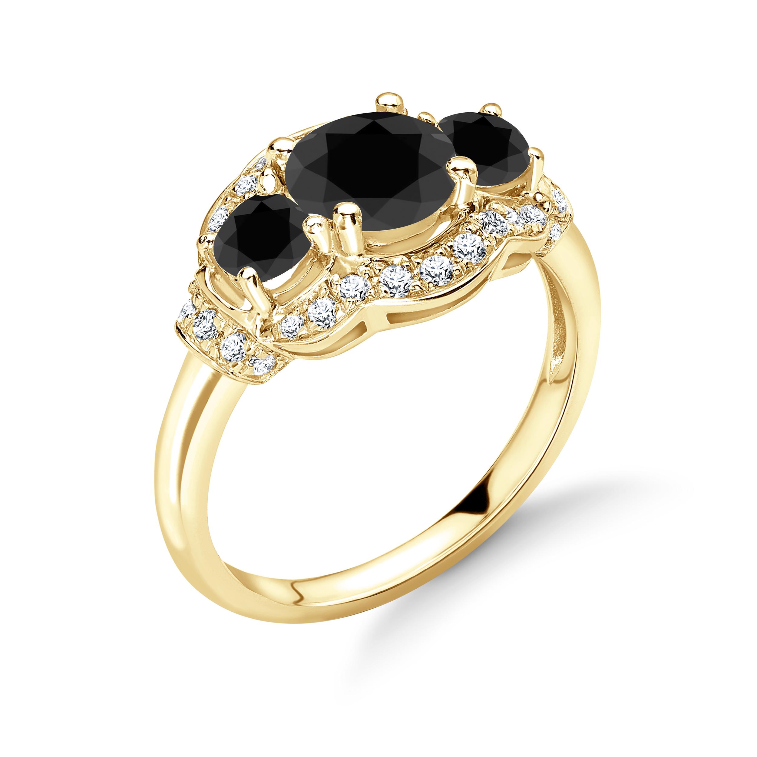 Vintage Style Gorgeous Halo Trilogy Black Diamond Engagement Rings
