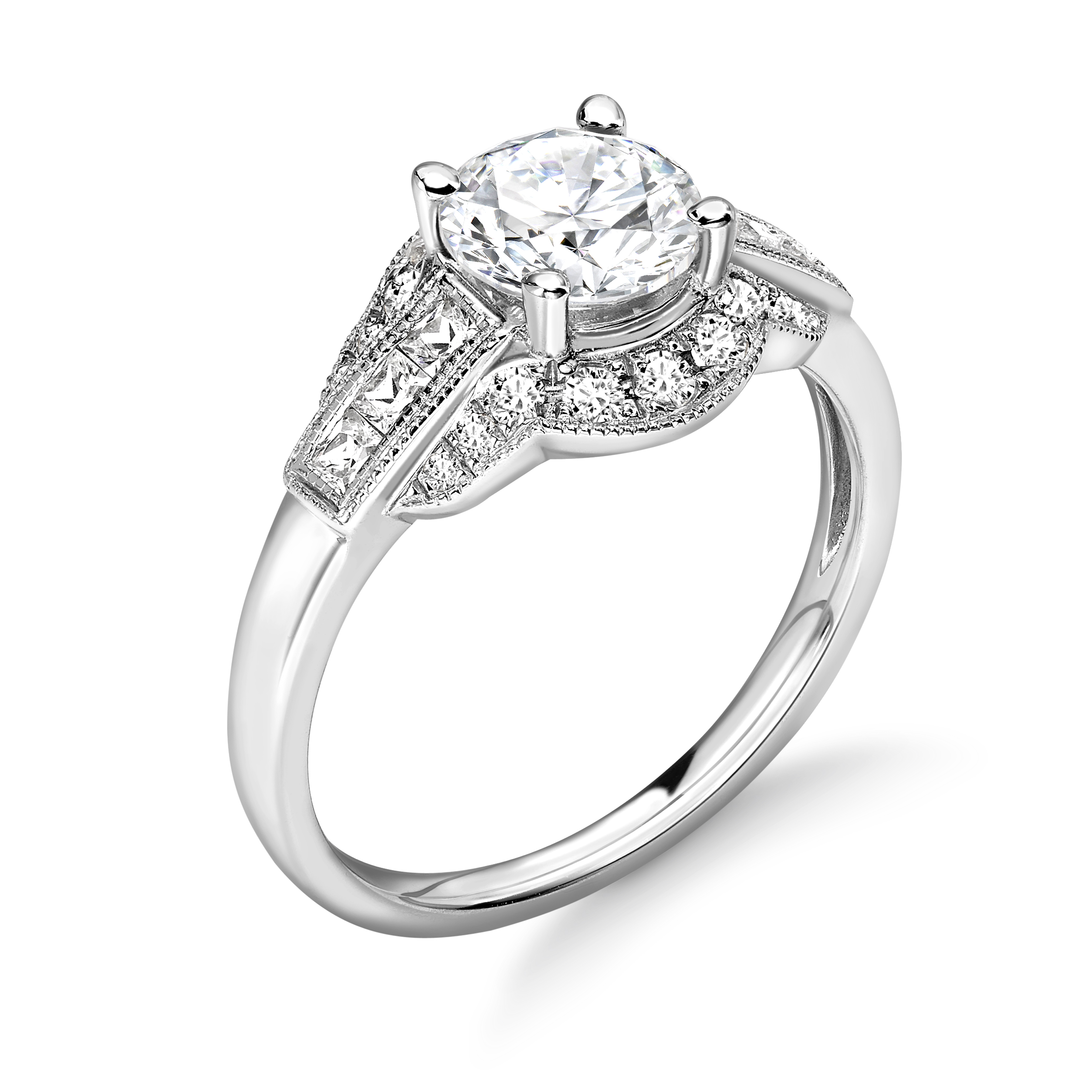 Vintage Style Unique Shoulder Set Diamond Engagement Ring