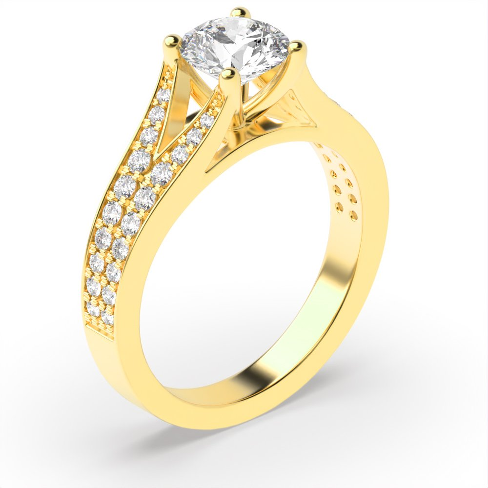 Modern Fishtail Shoulder Side Stone Diamond Engagement Rings