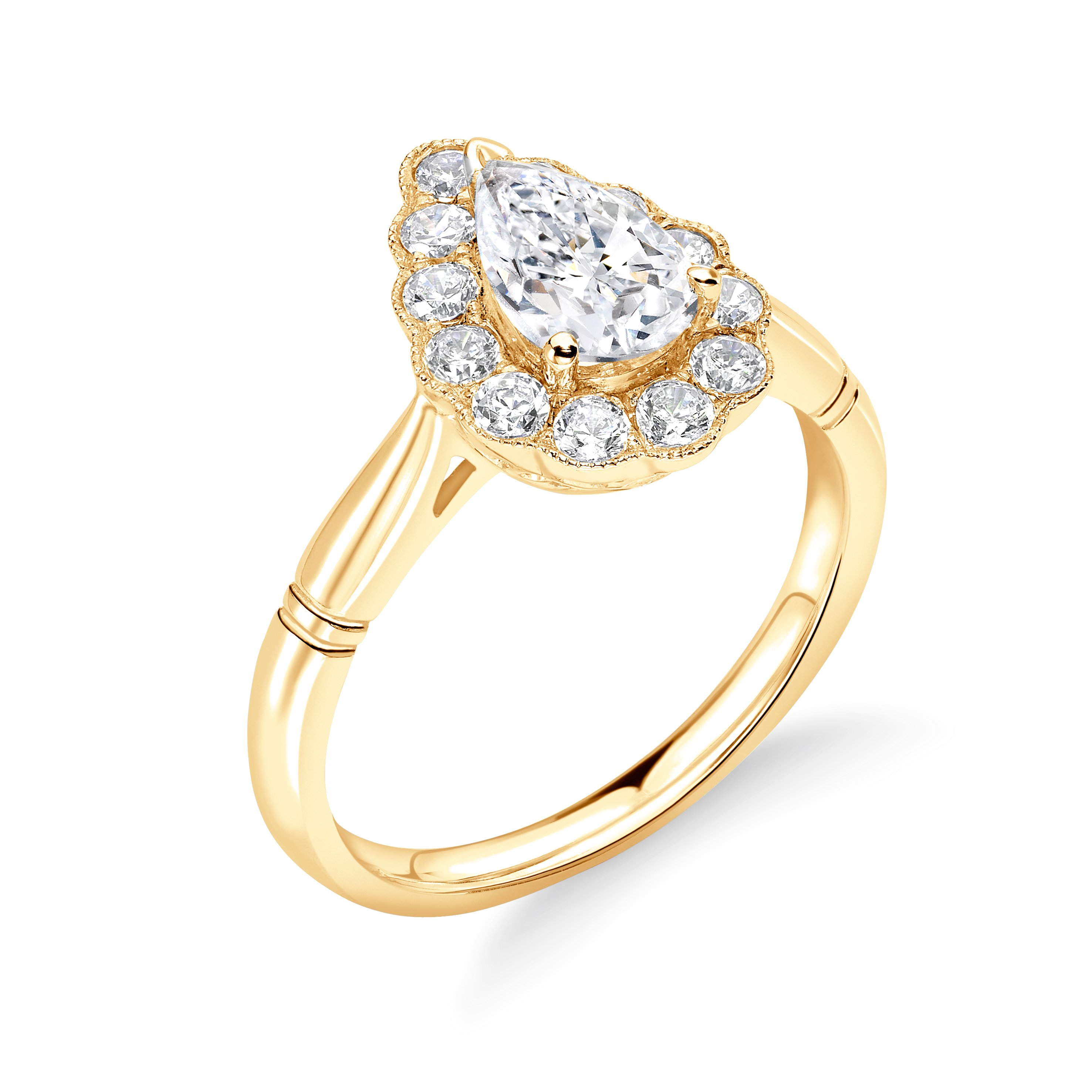 Prong Setting Pear Shape Vintage Miligrain Style Halo Diamond Engagement Rings