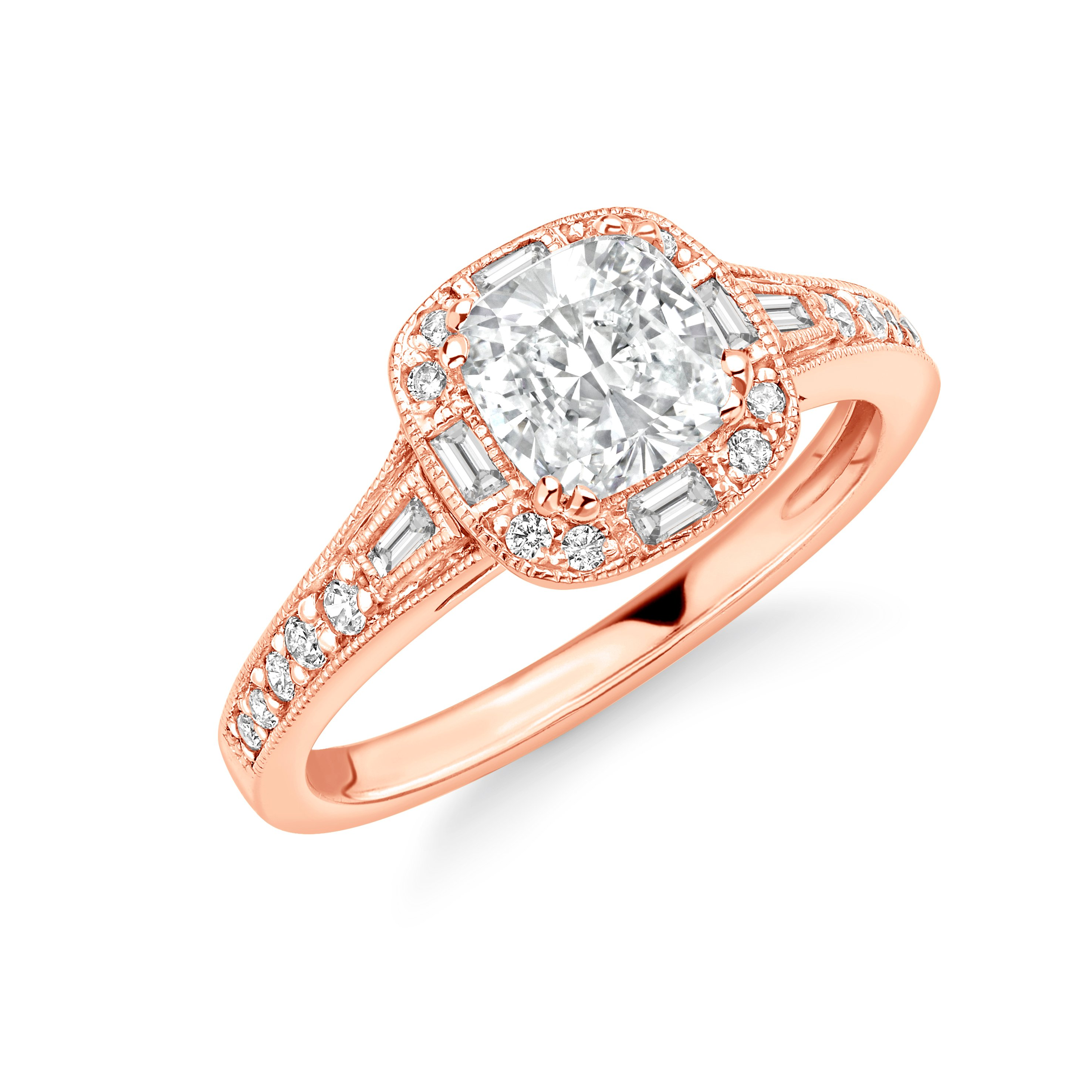 Prong Setting Cushion Shape Round and Baguette on shoulder - Unique Halo Diamond Engagement Rings