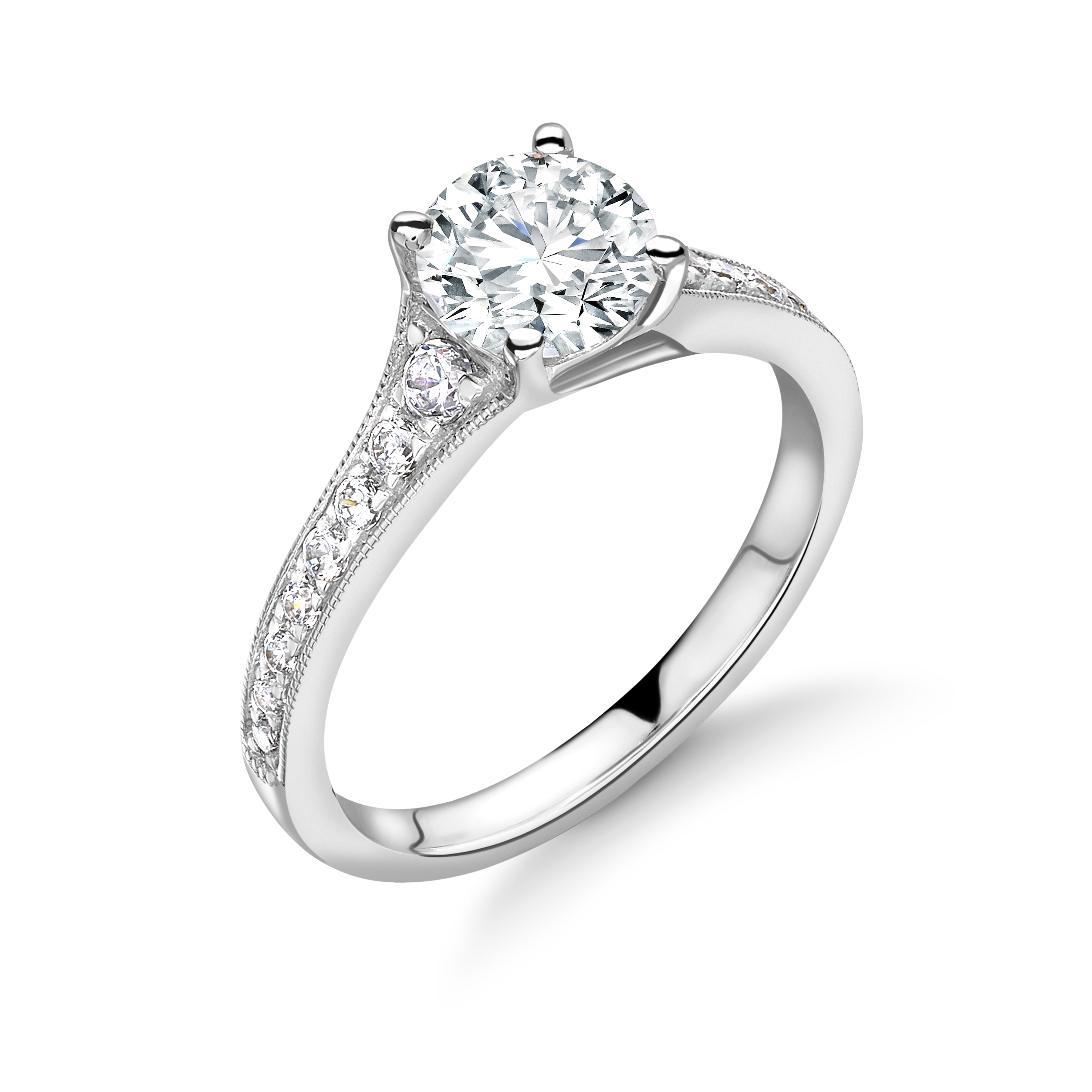 Tapering Up Shoulder with Milligrain Edge Diamond Engagement Ring