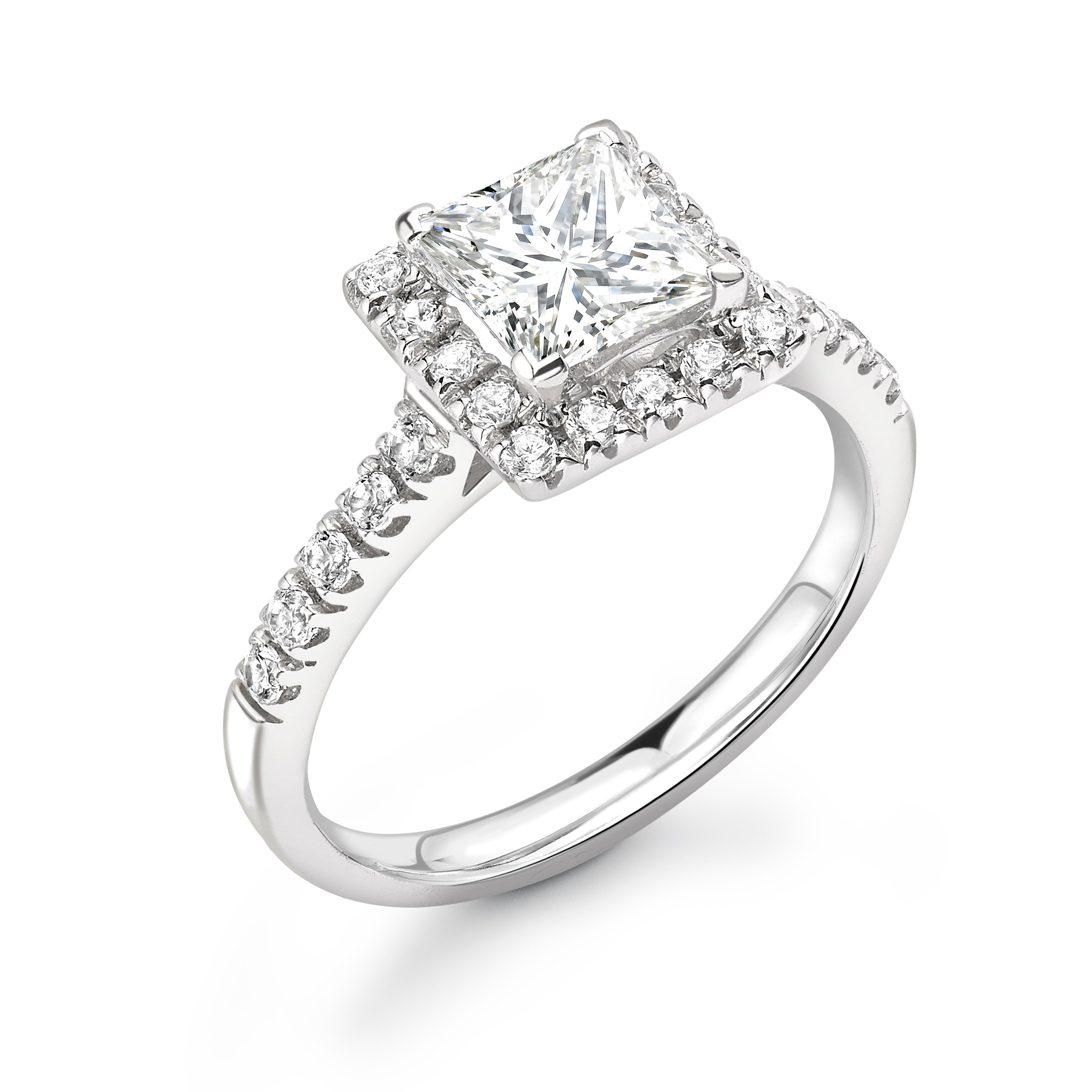 Prong Setting Princess Shape Gorgeous Halo Diamond Engagement Rings