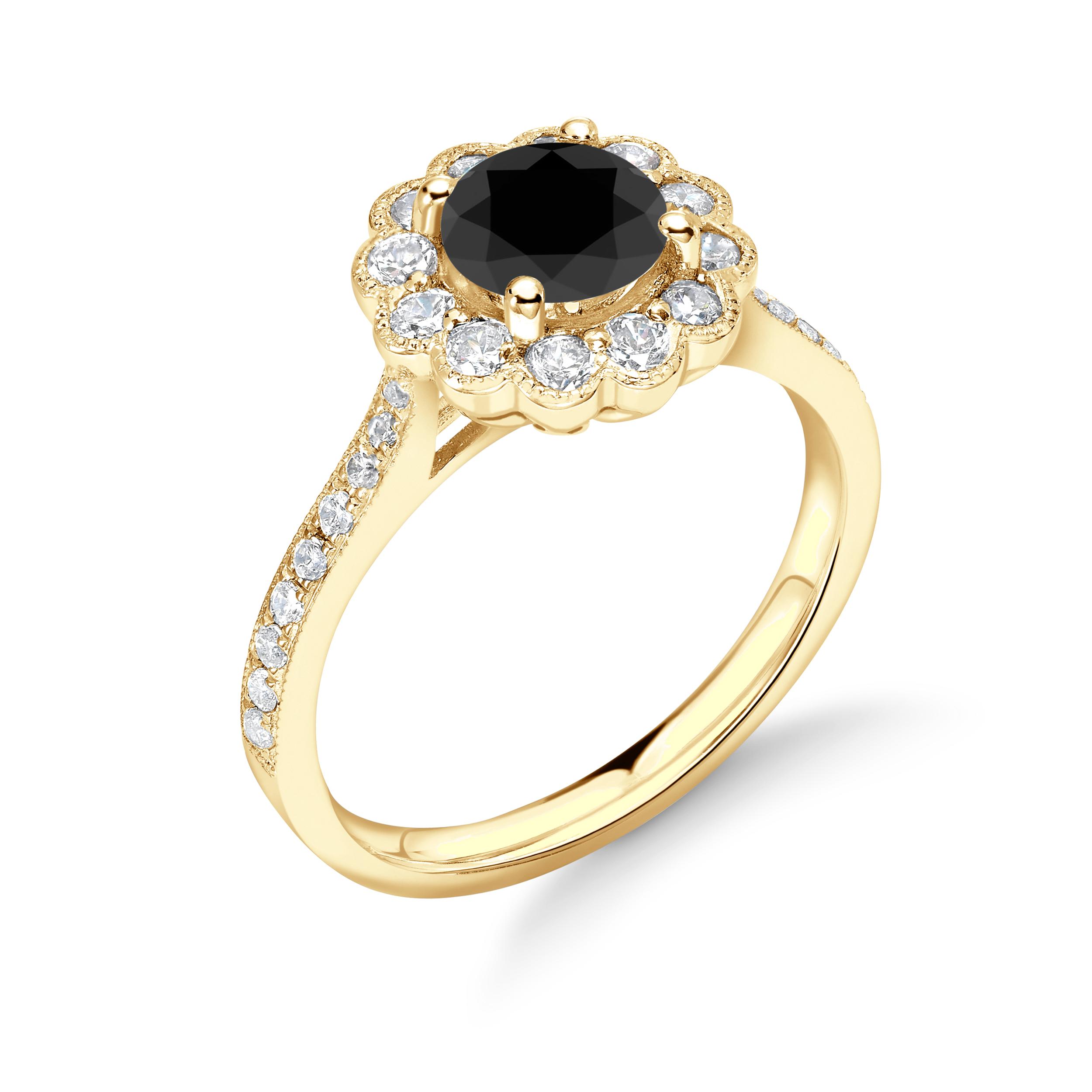 Vintage Style Miligrain Round Diamond Halo Black Engagement Rings