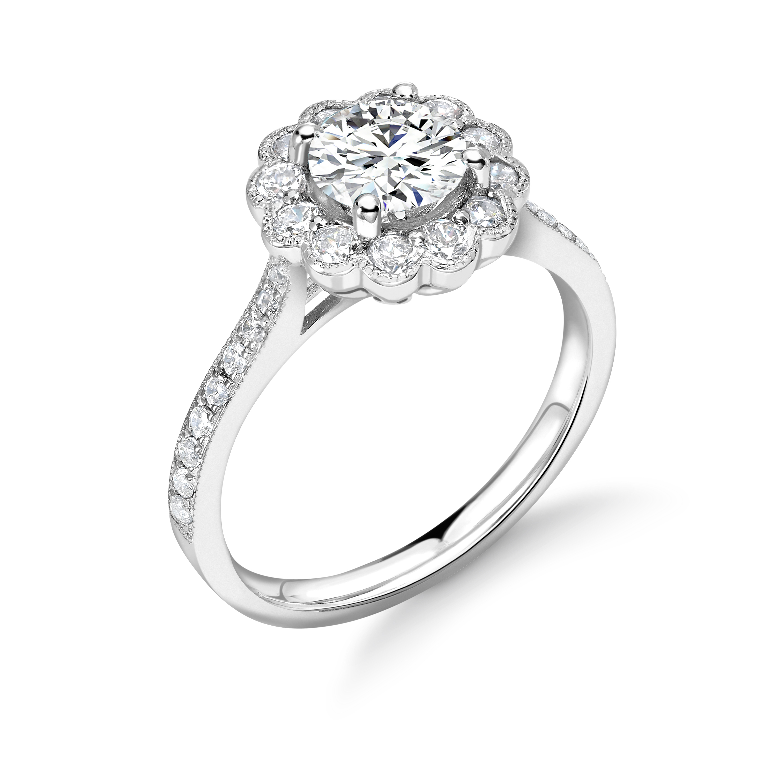 Prong Setting Round Shape Miligrain Basel on Halo Diamond Engagement Rings