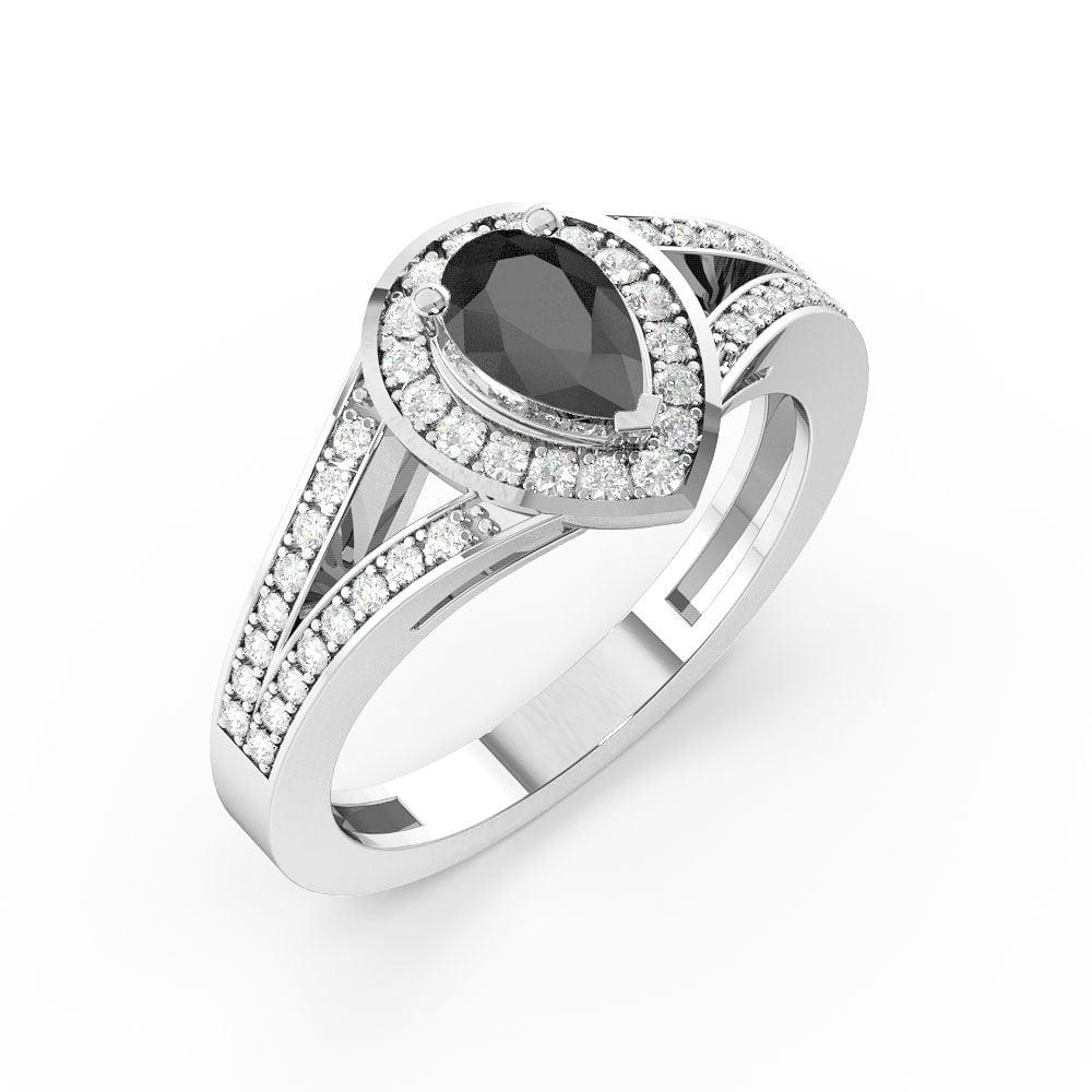 Prong Setting Pear Shape 2 Raw Shoulder Halo Black Diamond Engagement Rings