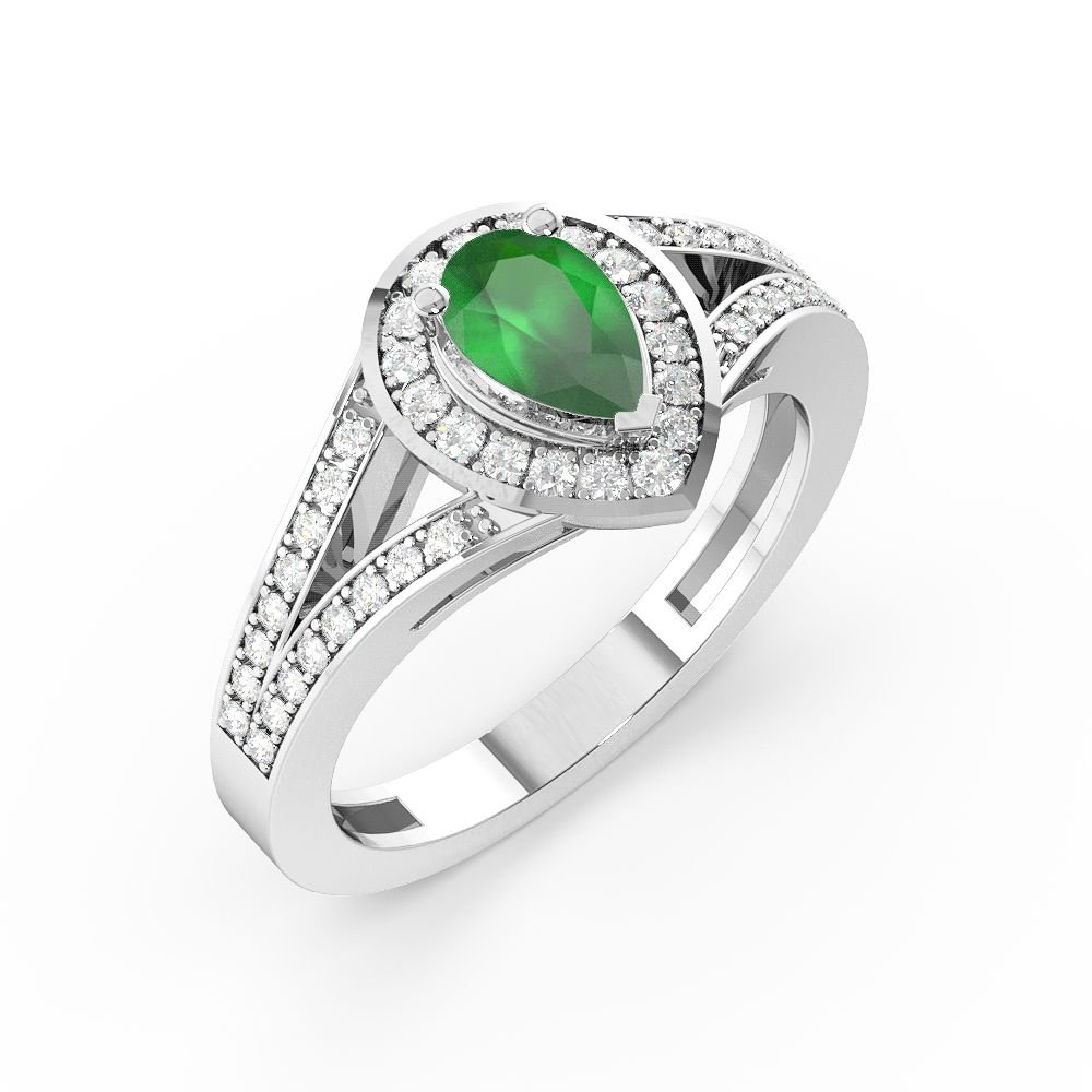 Prong Setting Pear Shape 2 Raw Shoulder Halo Emerald Engagement Rings