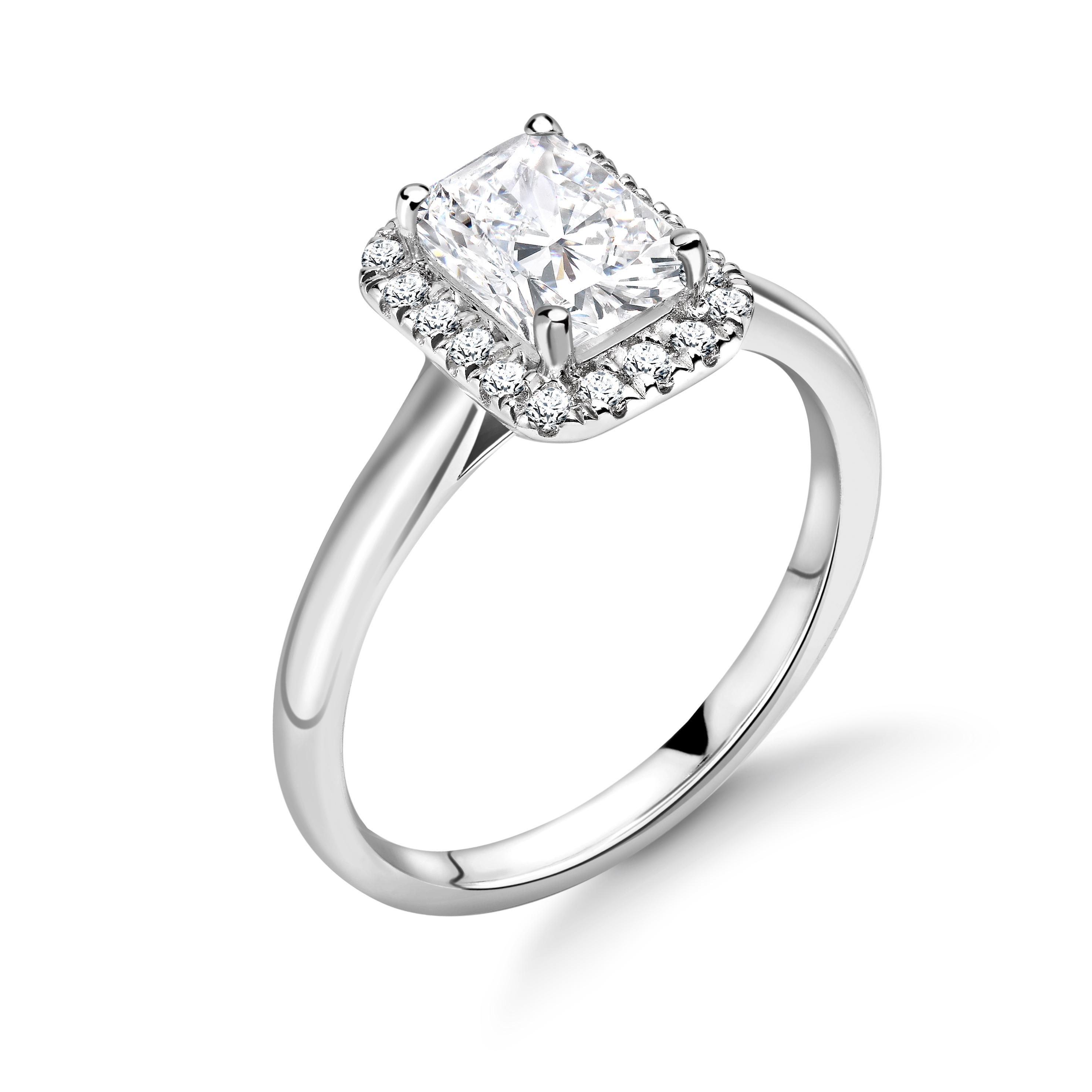 Prong Setting Radiant Shape Plain Shoulder Halo Diamond Engagement Rings